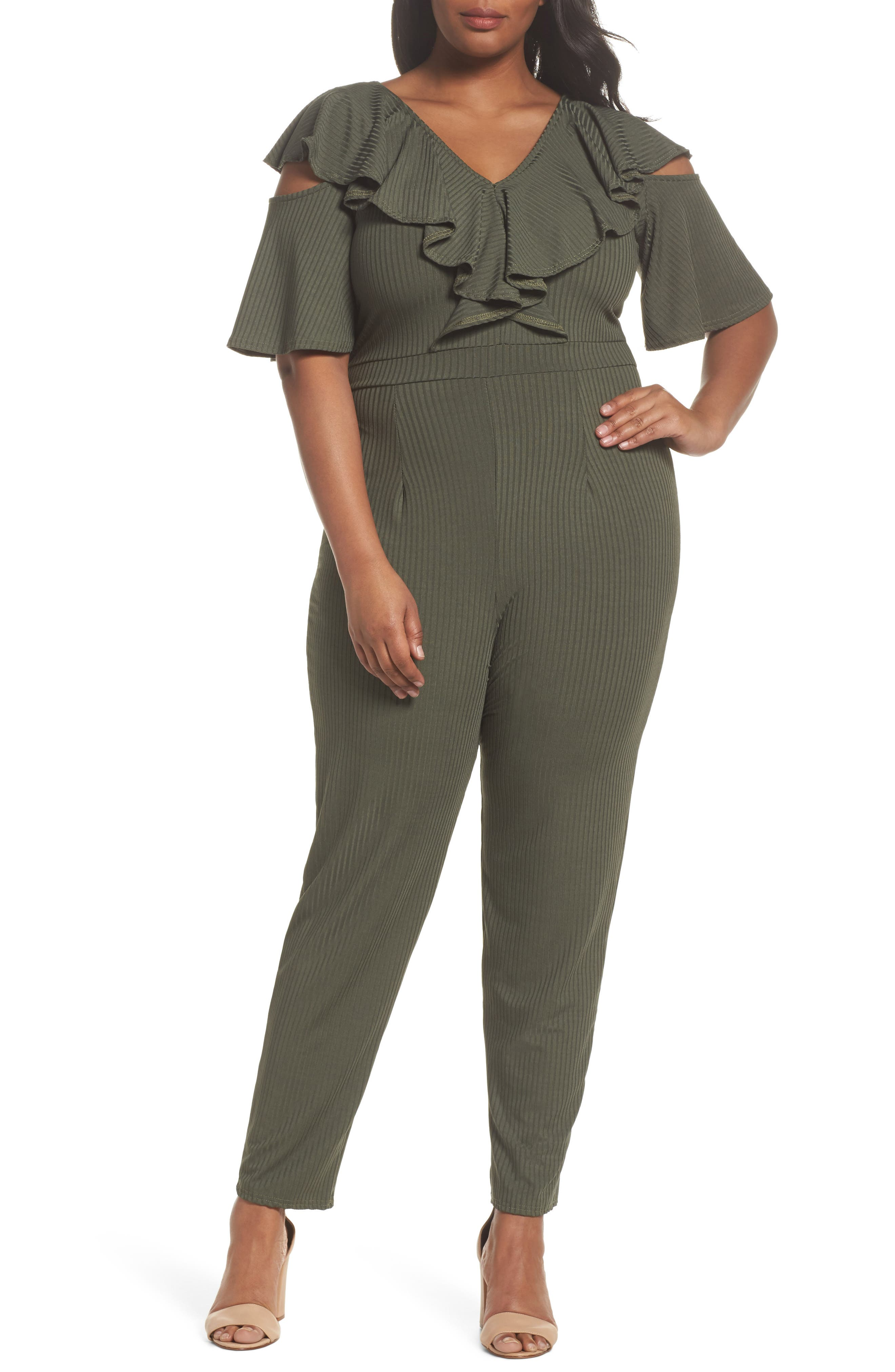 LOST INK Ruffle Cold Shoulder Knit Jumpsuit (Plus Size)