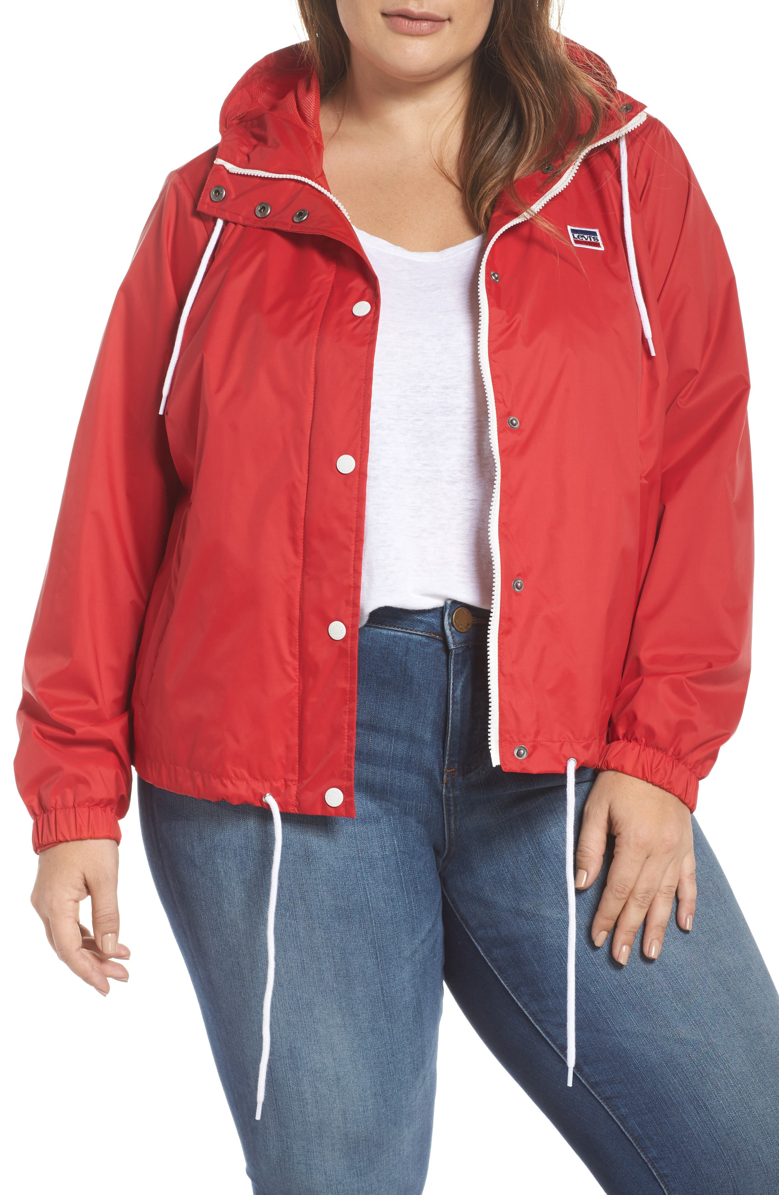 Retro Hooded Coach's Jacket,                         Main,                         color, Red