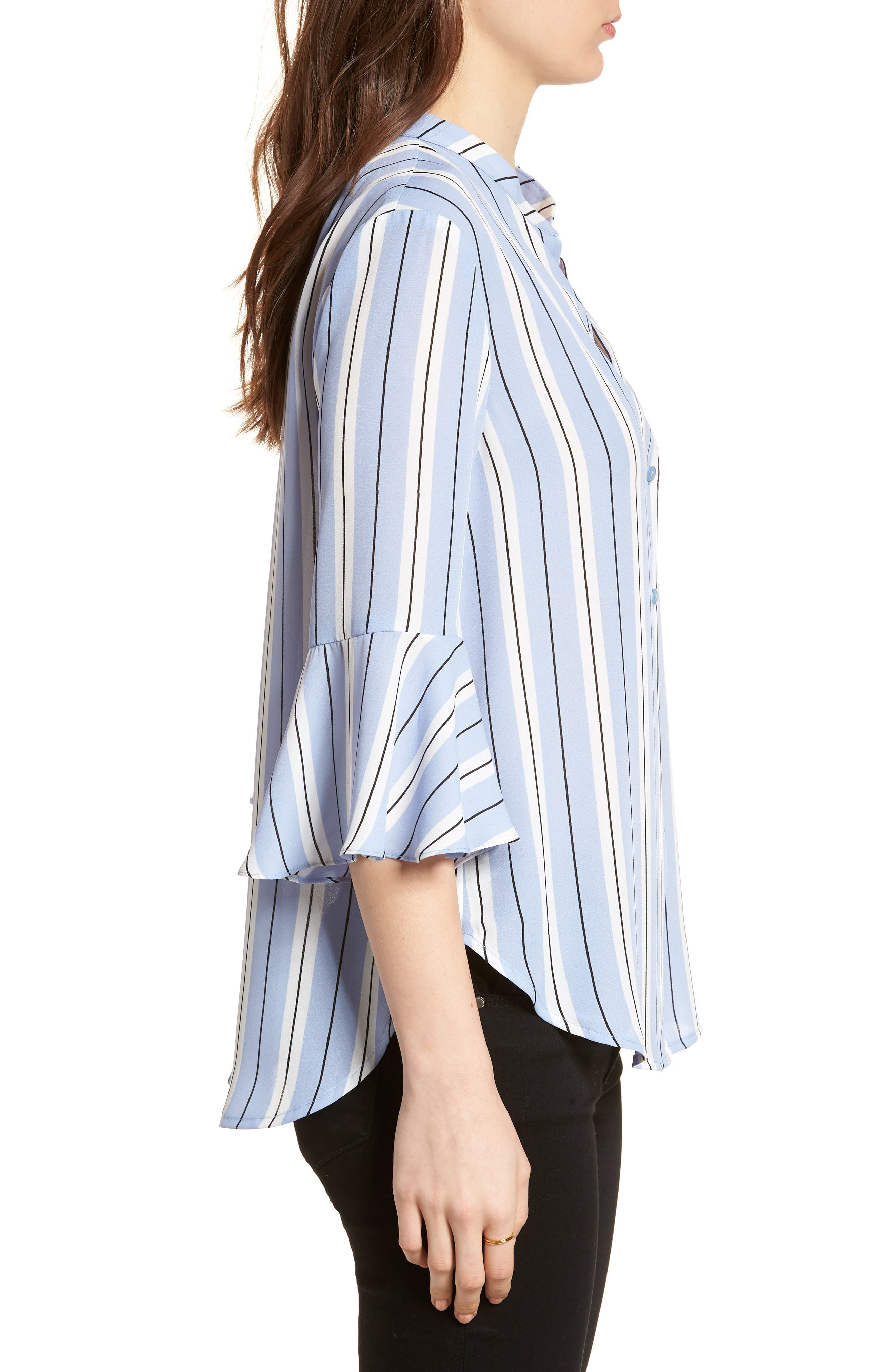 Print Bell Sleeve Shirt,                             Alternate thumbnail 3, color,                             Blue Black Stripes