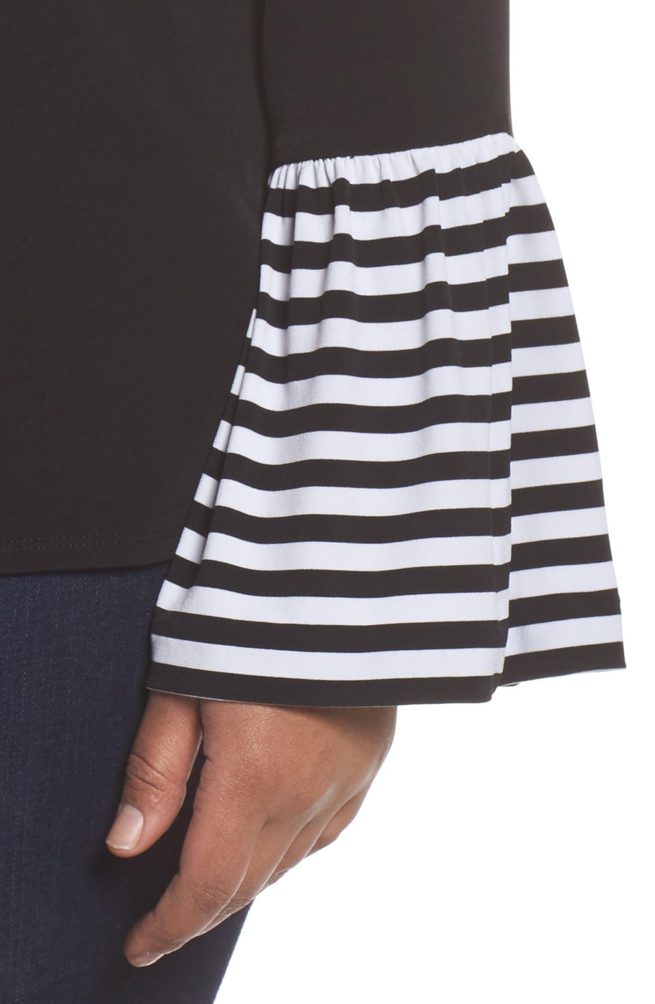 Stripe Bell Sleeve Top,                             Alternate thumbnail 4, color,                             Black