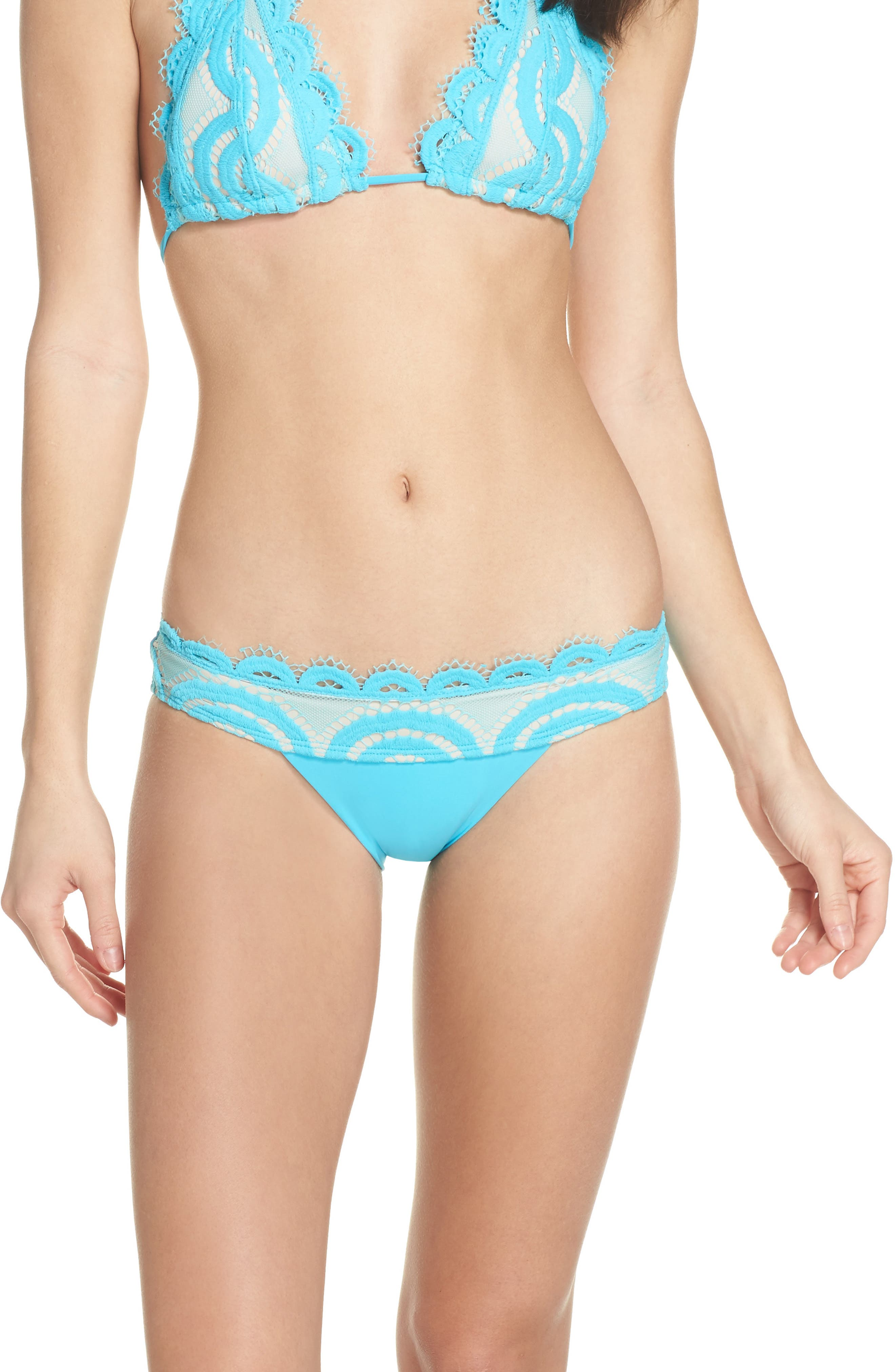 Banded Lace Bikini Bottoms,                         Main,                         color, Marine
