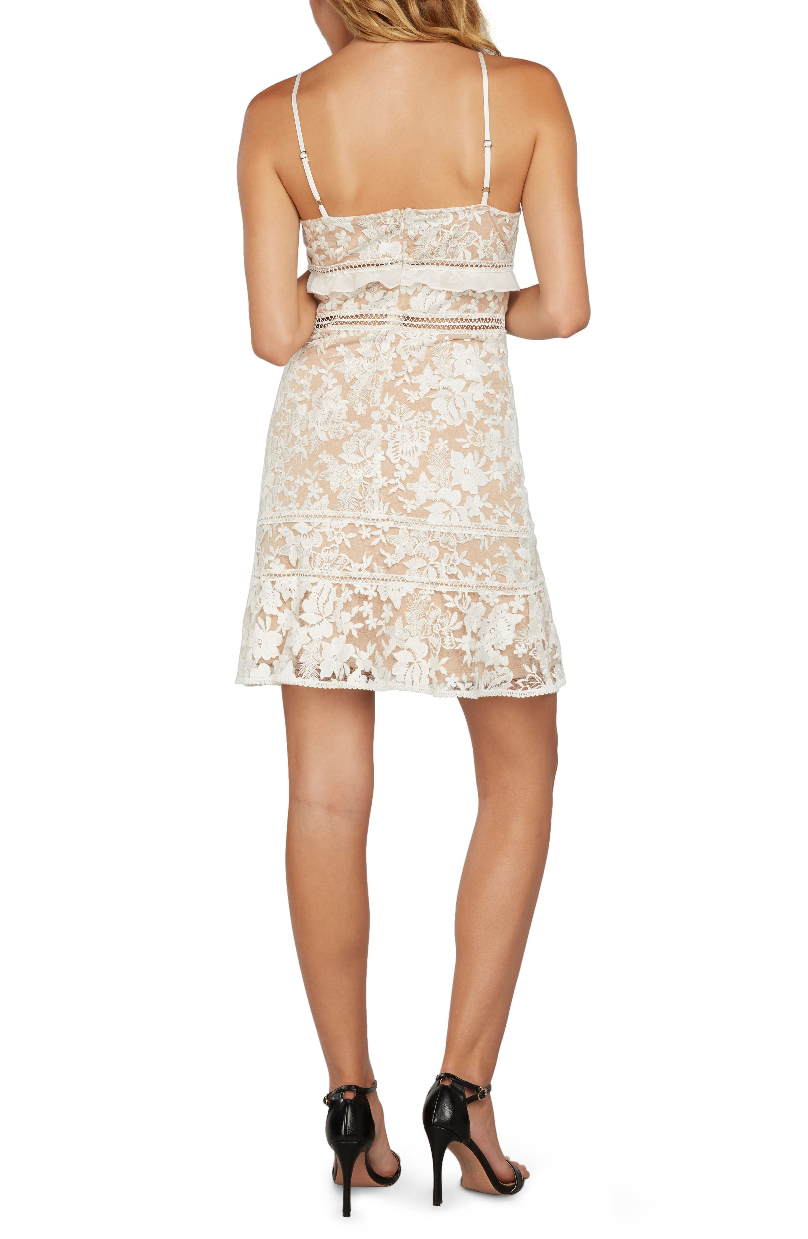 Embroidered Mesh Minidress,                             Alternate thumbnail 2, color,                             Ivory