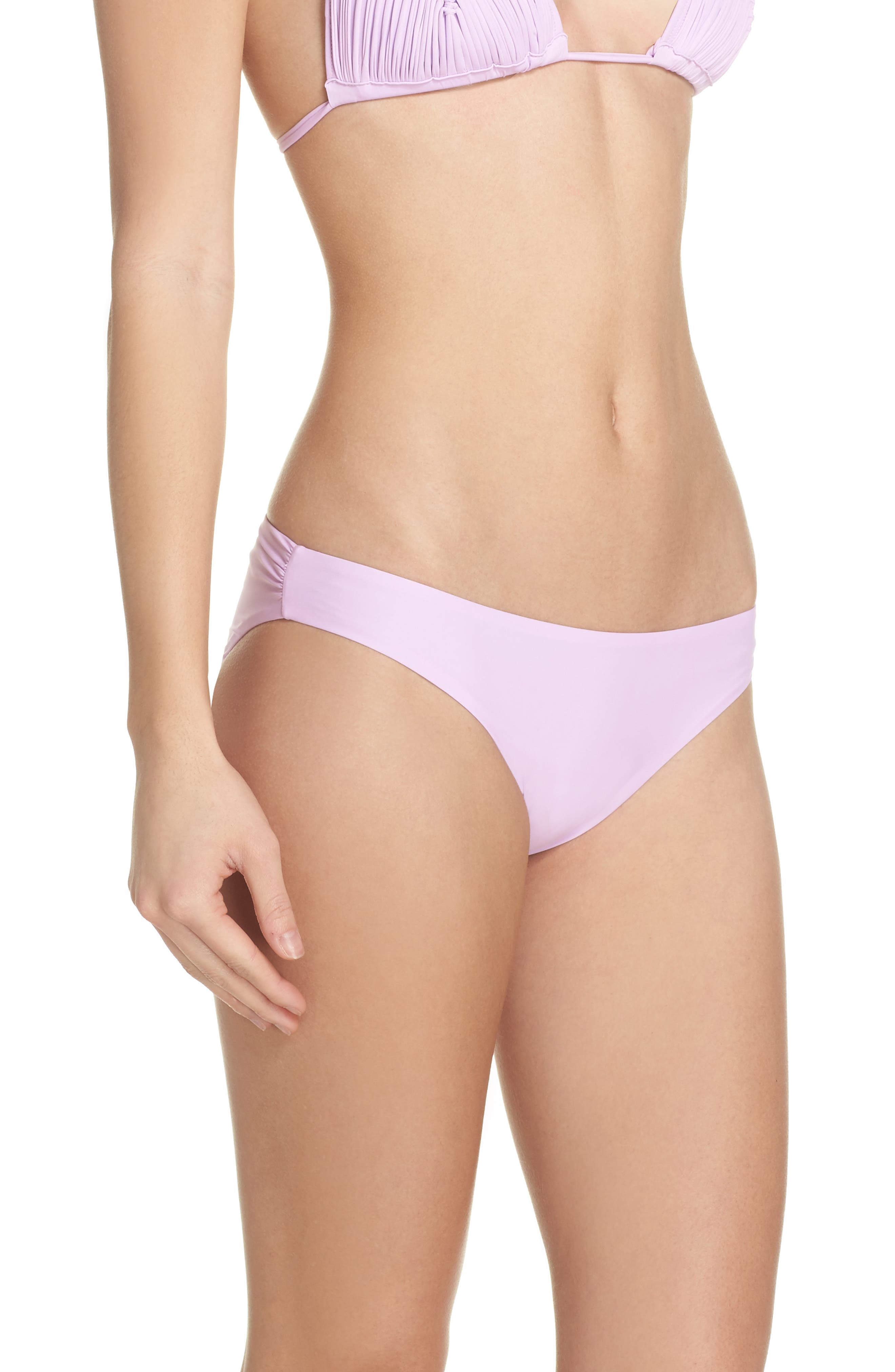 Ruched Bikini Bottoms,                             Alternate thumbnail 3, color,                             Lilac