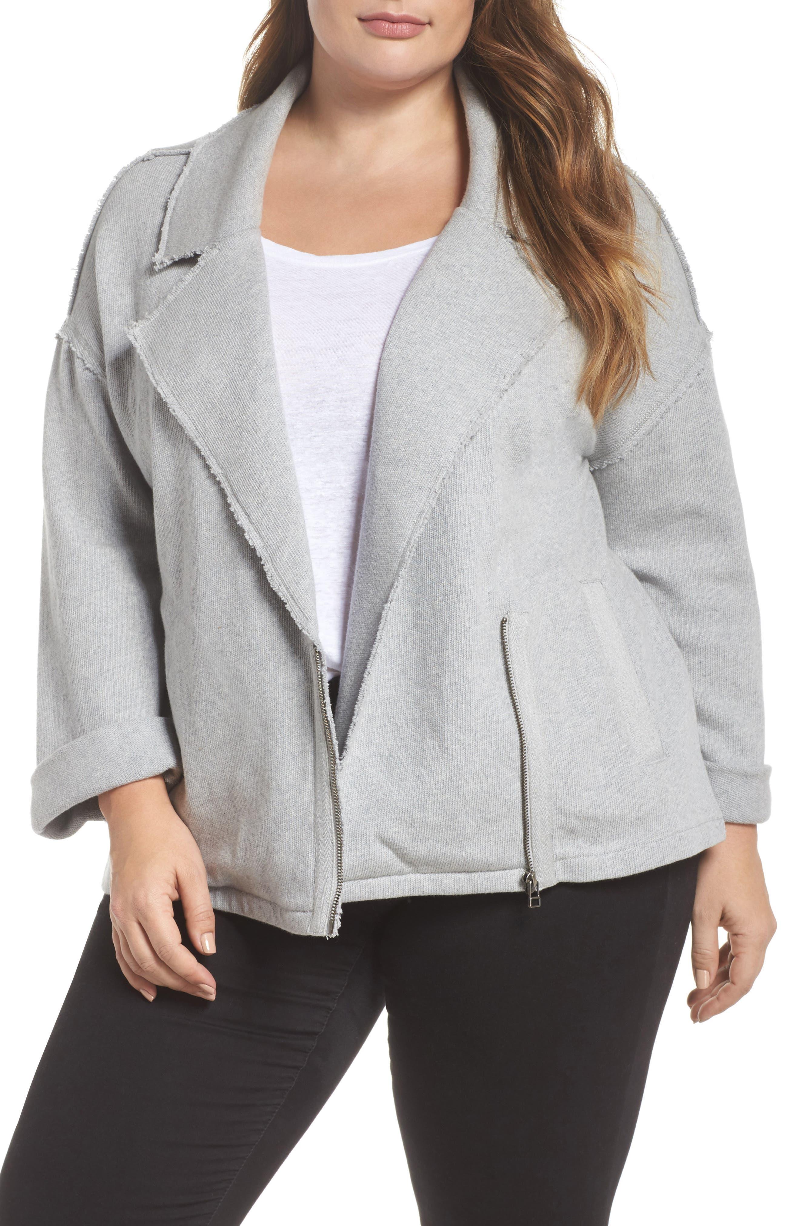 Caslon® Knit Moto Jacket (Plus Size)