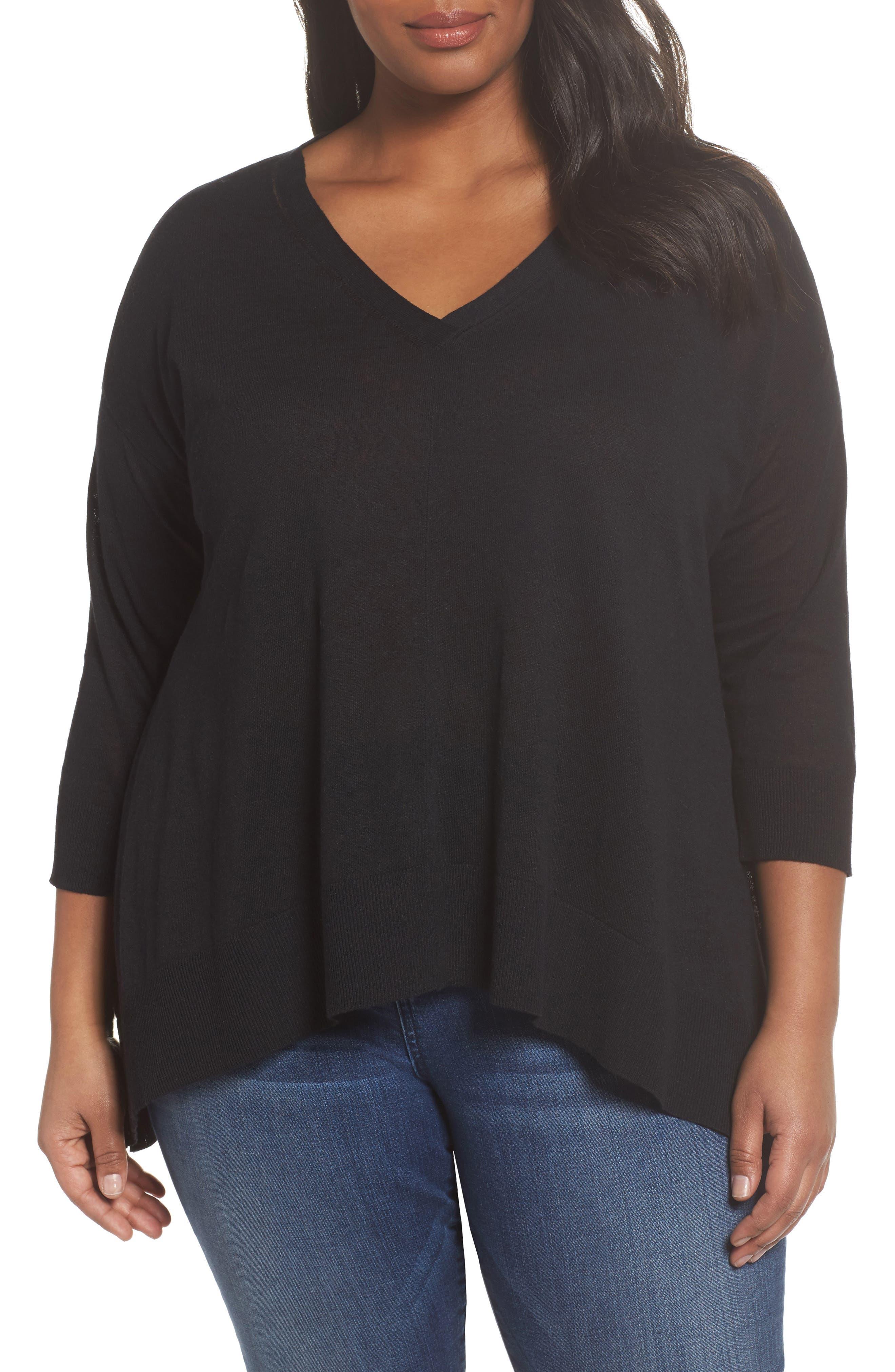 Sejour V-Neck Swing Pullover (Plus Size)