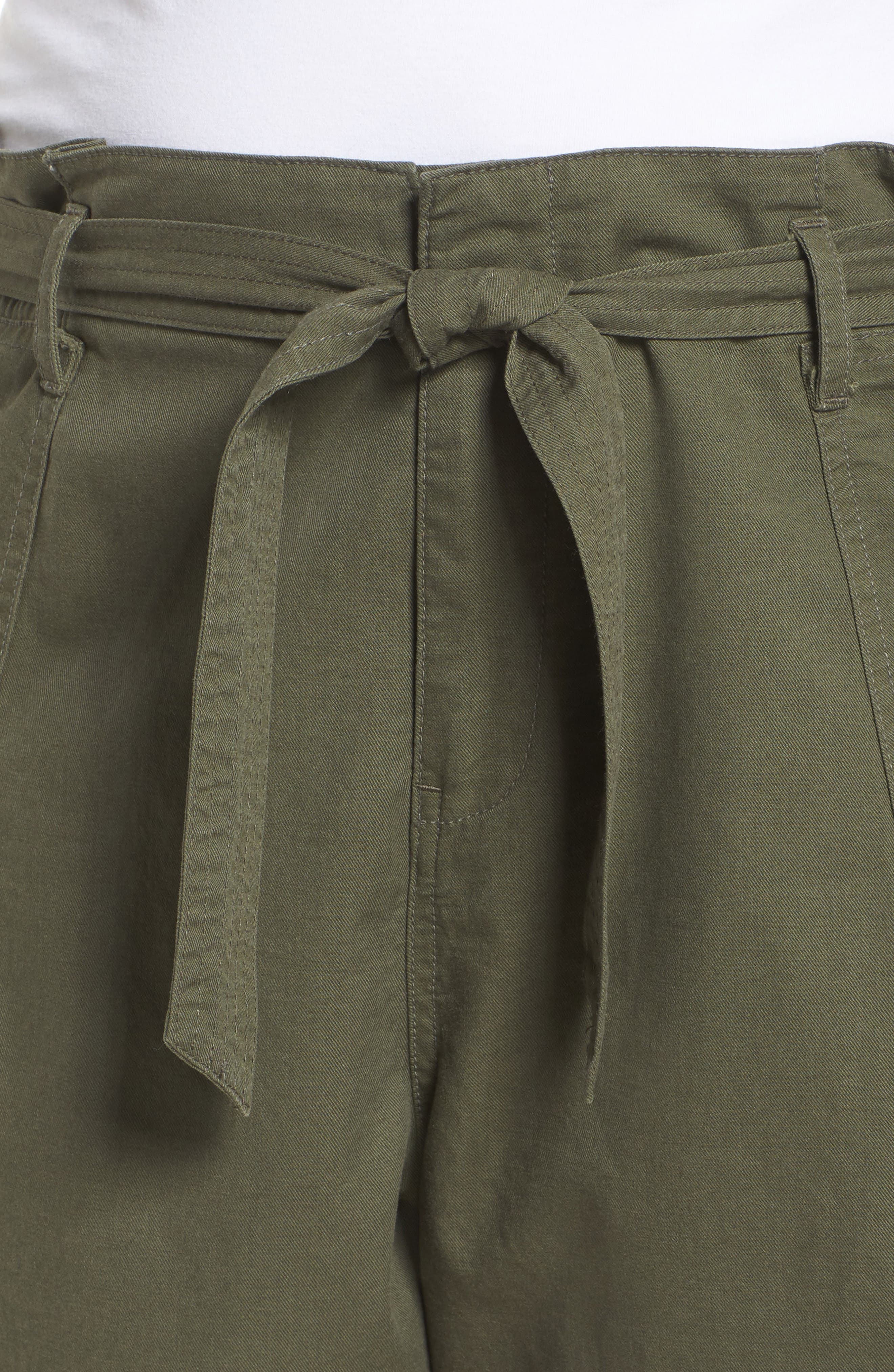 Belted Twill Shorts,                             Alternate thumbnail 4, color,                             Olive Sarma