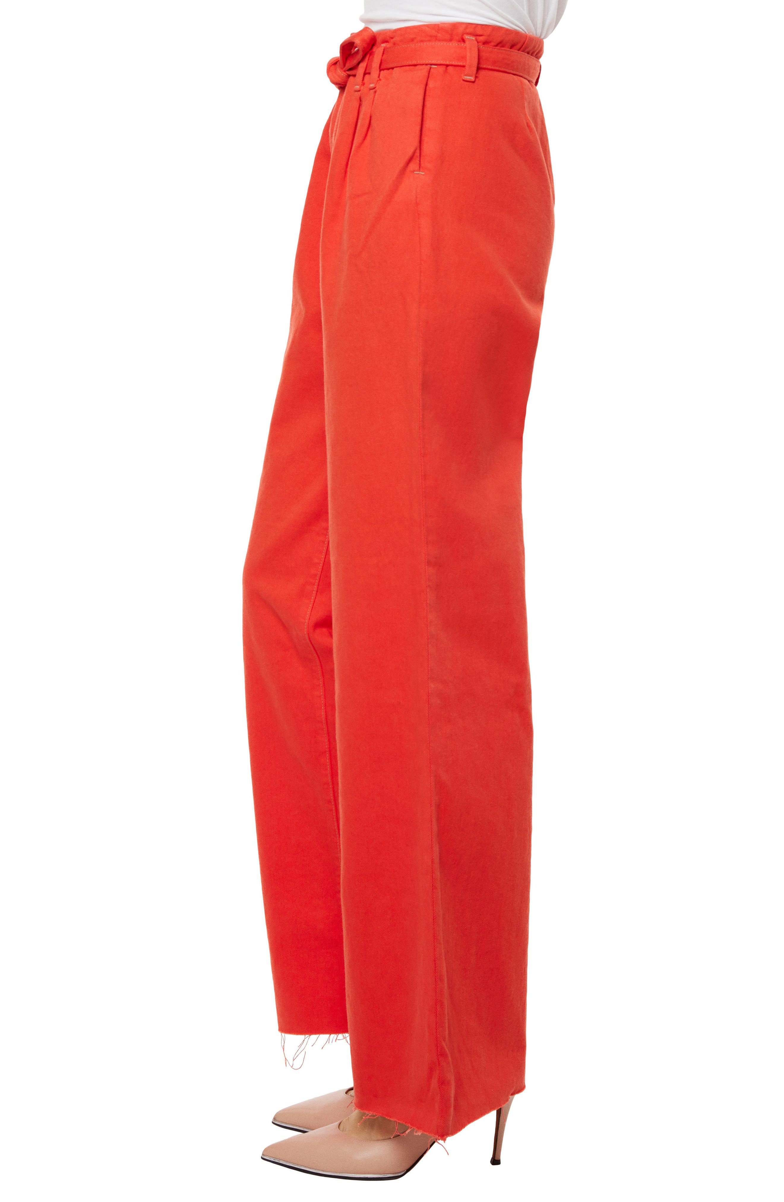 High Waist Wide Leg Pants,                             Alternate thumbnail 3, color,                             Bright Coral