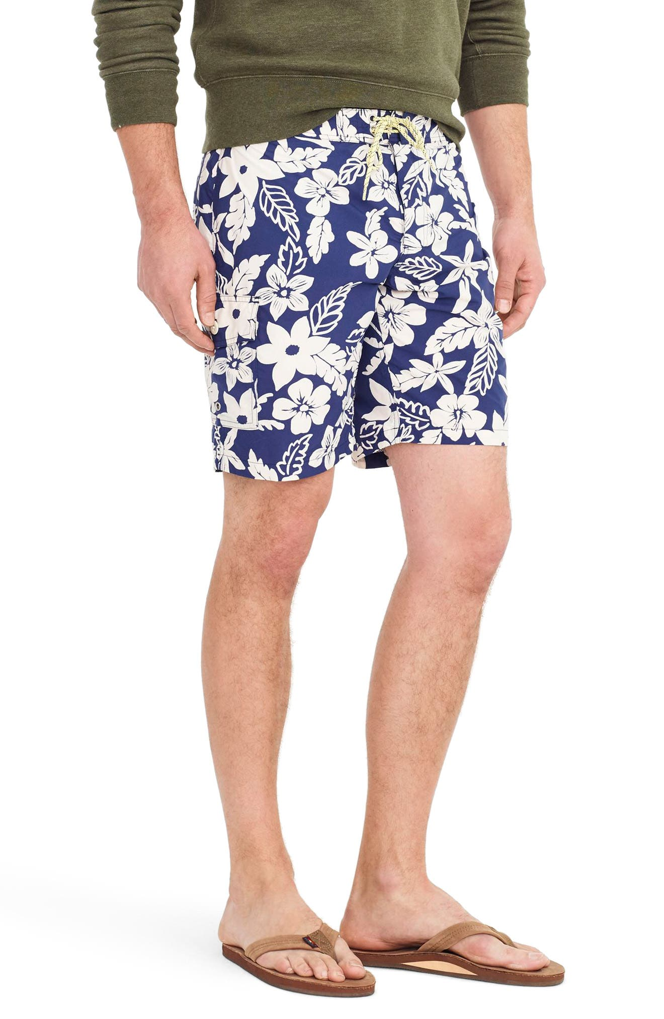 Alternate Image 3  - J.Crew Floral Swim Trunks