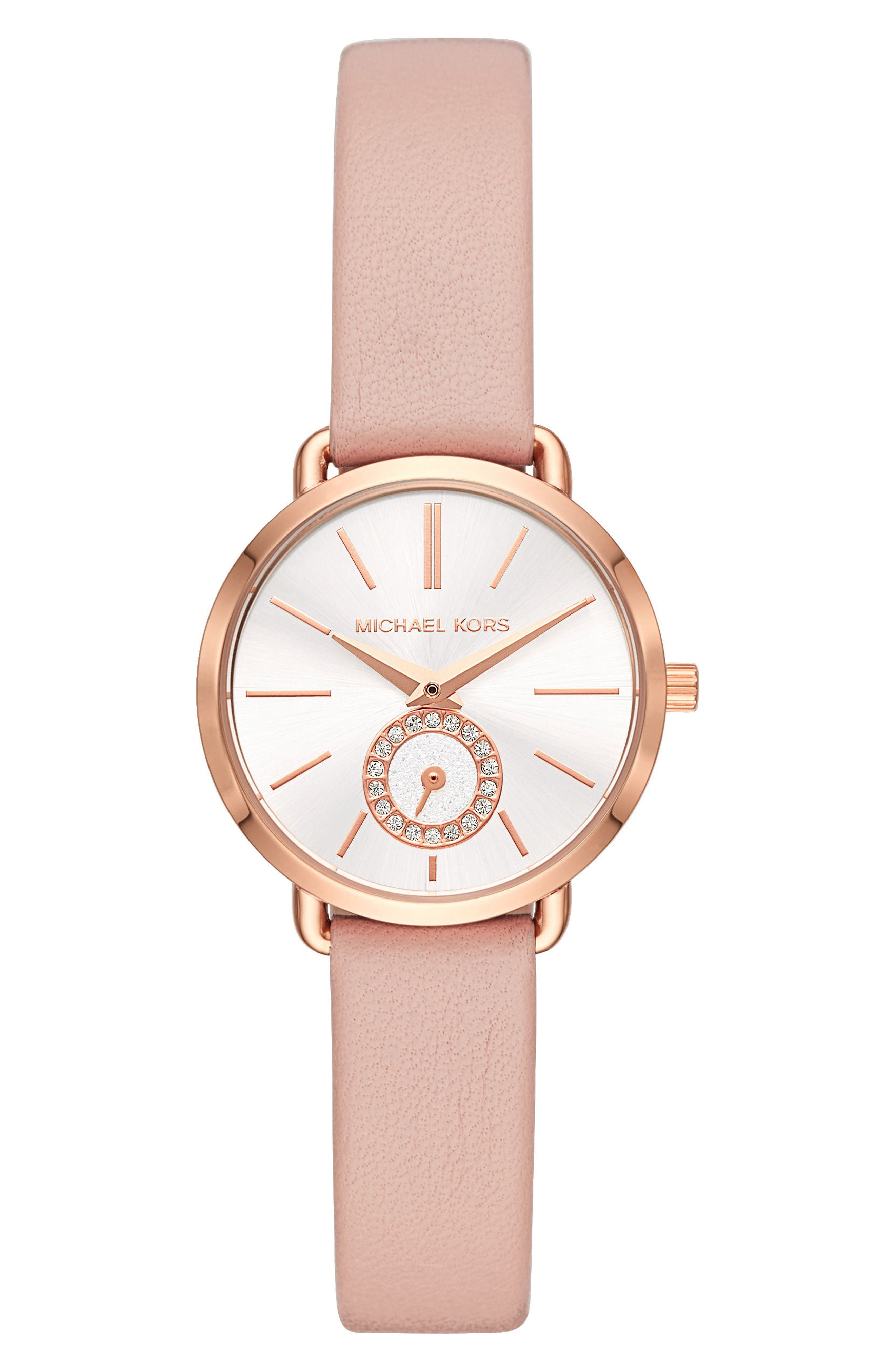 Mini Portia Leather Strap Watch, 28mm,                             Main thumbnail 1, color,                             Pink/ Gold