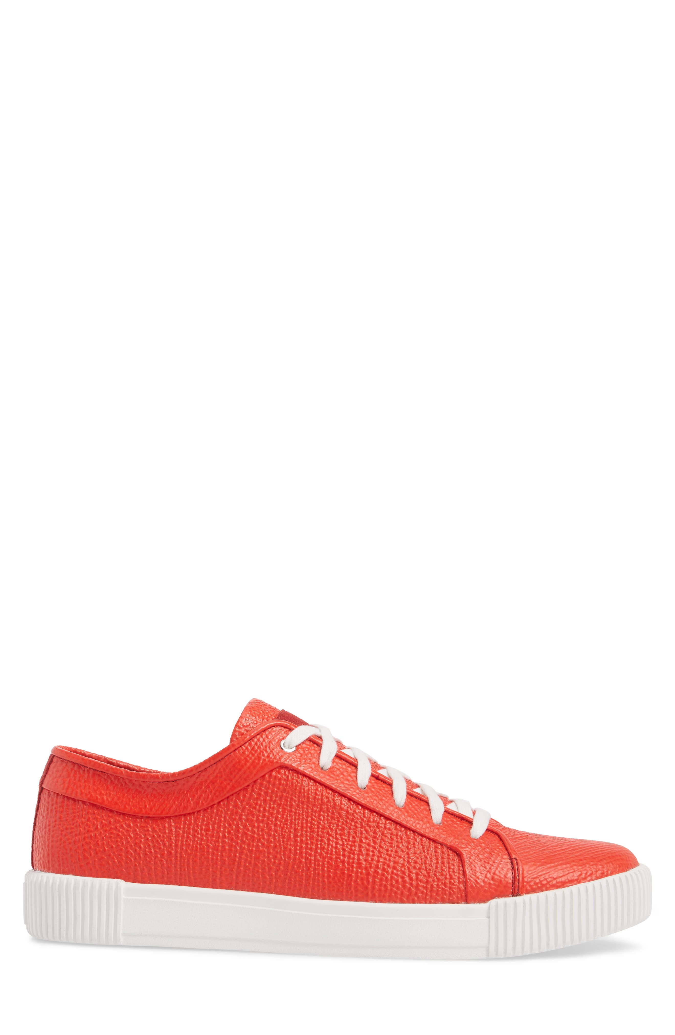 Lyons Low Top Sneaker,                             Alternate thumbnail 3, color,                             Red Leather