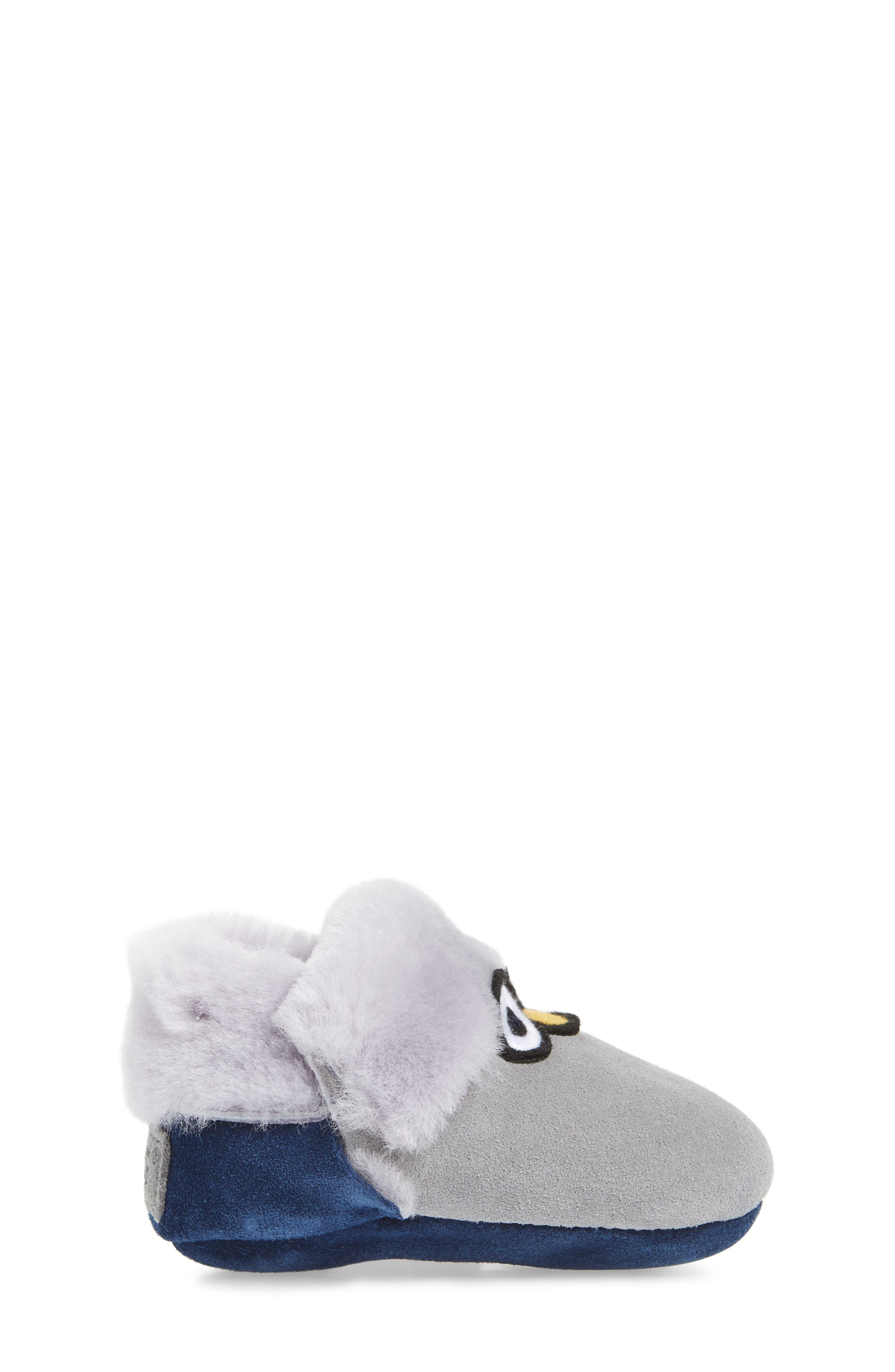 Zippie Genuine Shearling Bootie,                             Alternate thumbnail 3, color,                             Navy/ Seal