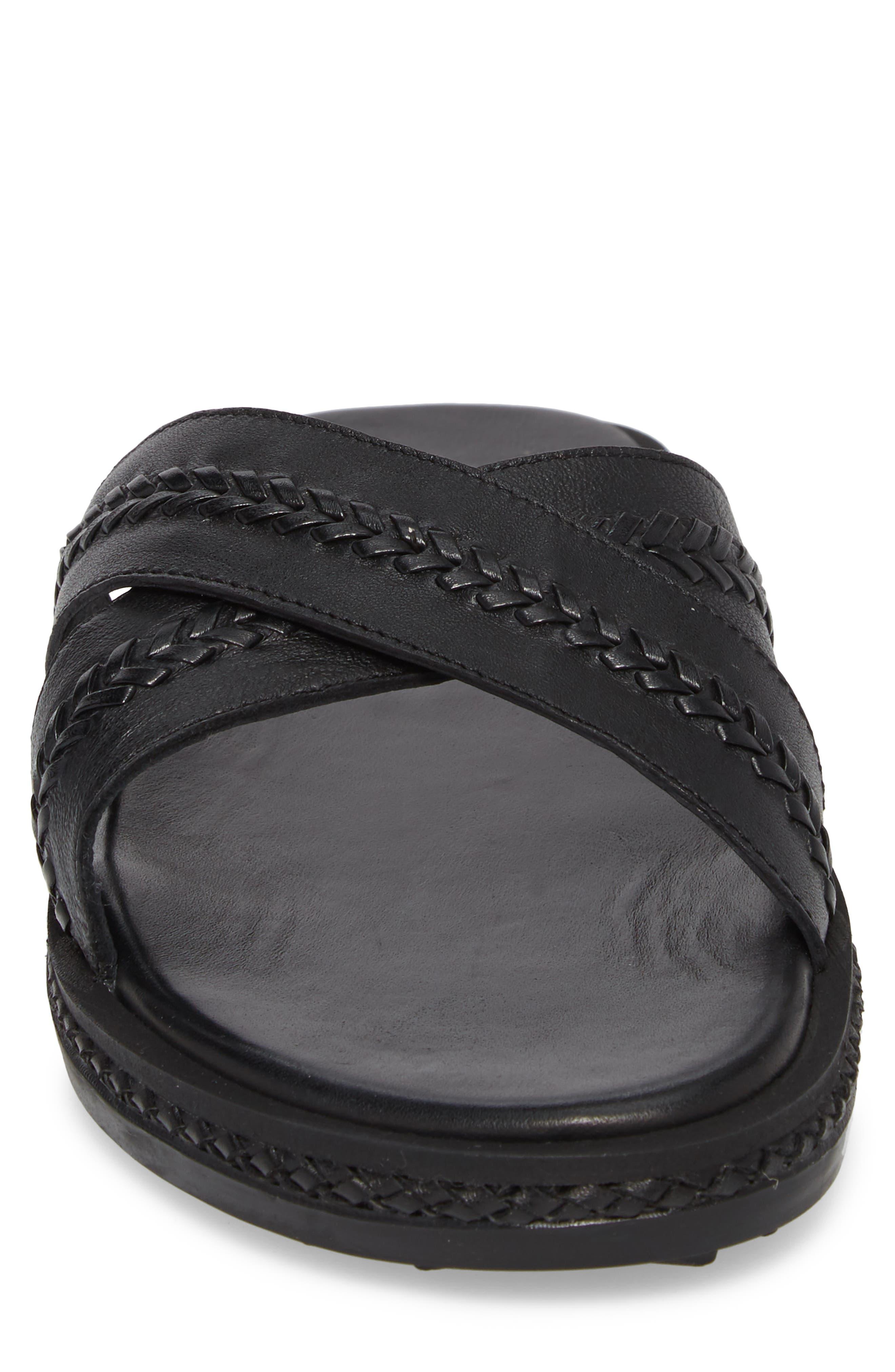Woven Cross Strap Slide Sandal,                             Alternate thumbnail 4, color,                             Black Leather