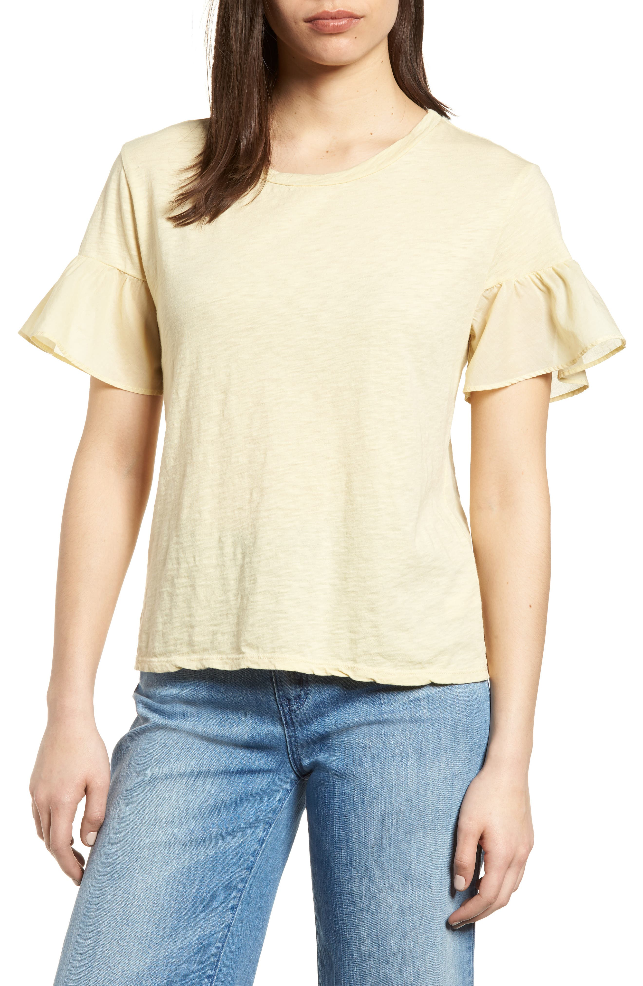 Slub Cotton Voile Sleeve Tee,                         Main,                         color, Chick Yellow