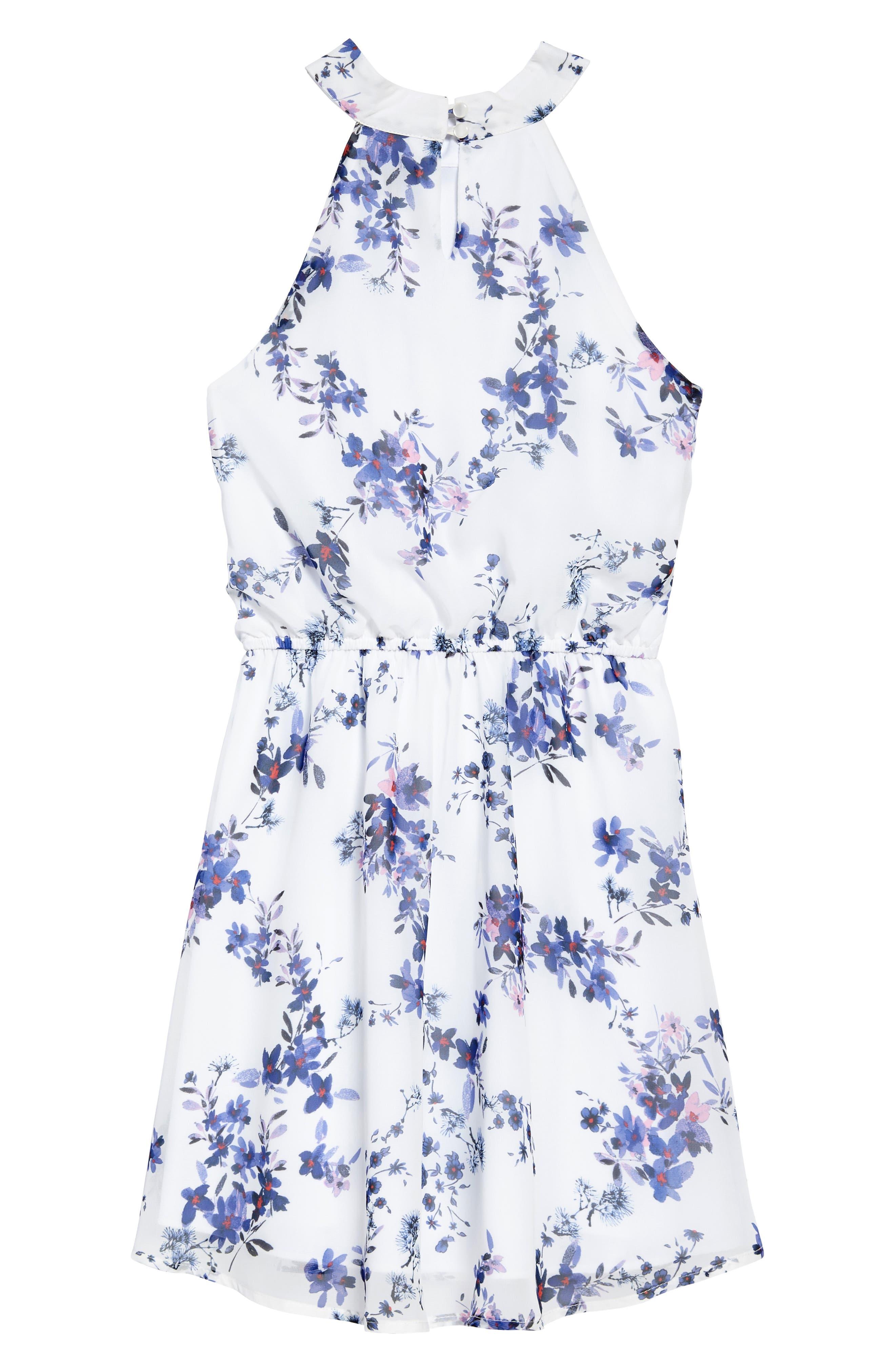 Alternate Image 2  - Ava & Yelly Floral Mock Neck Dress (Big Girls)