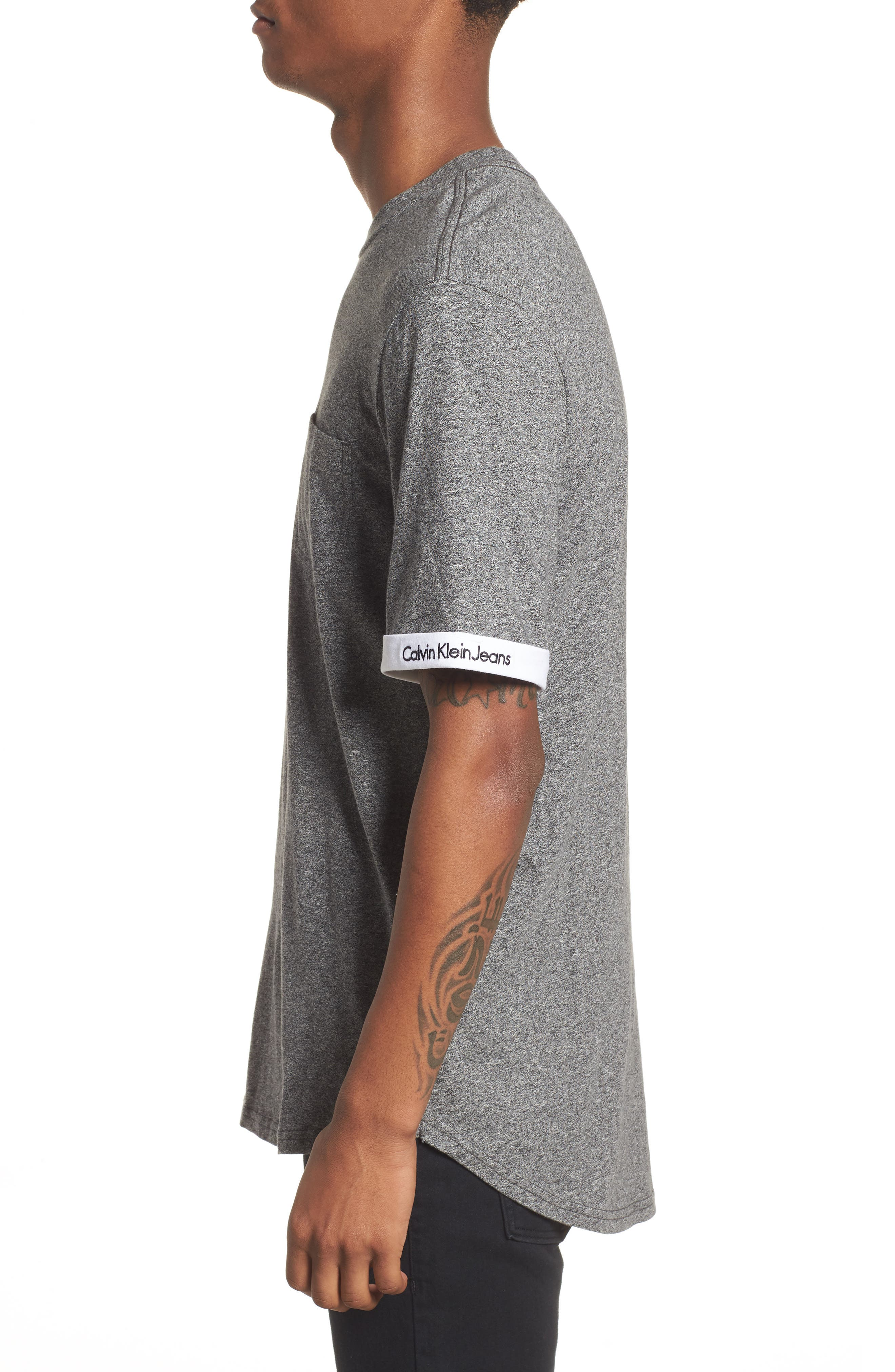 Rolled Cuff Pocket T-Shirt,                             Alternate thumbnail 3, color,                             Granite Heather