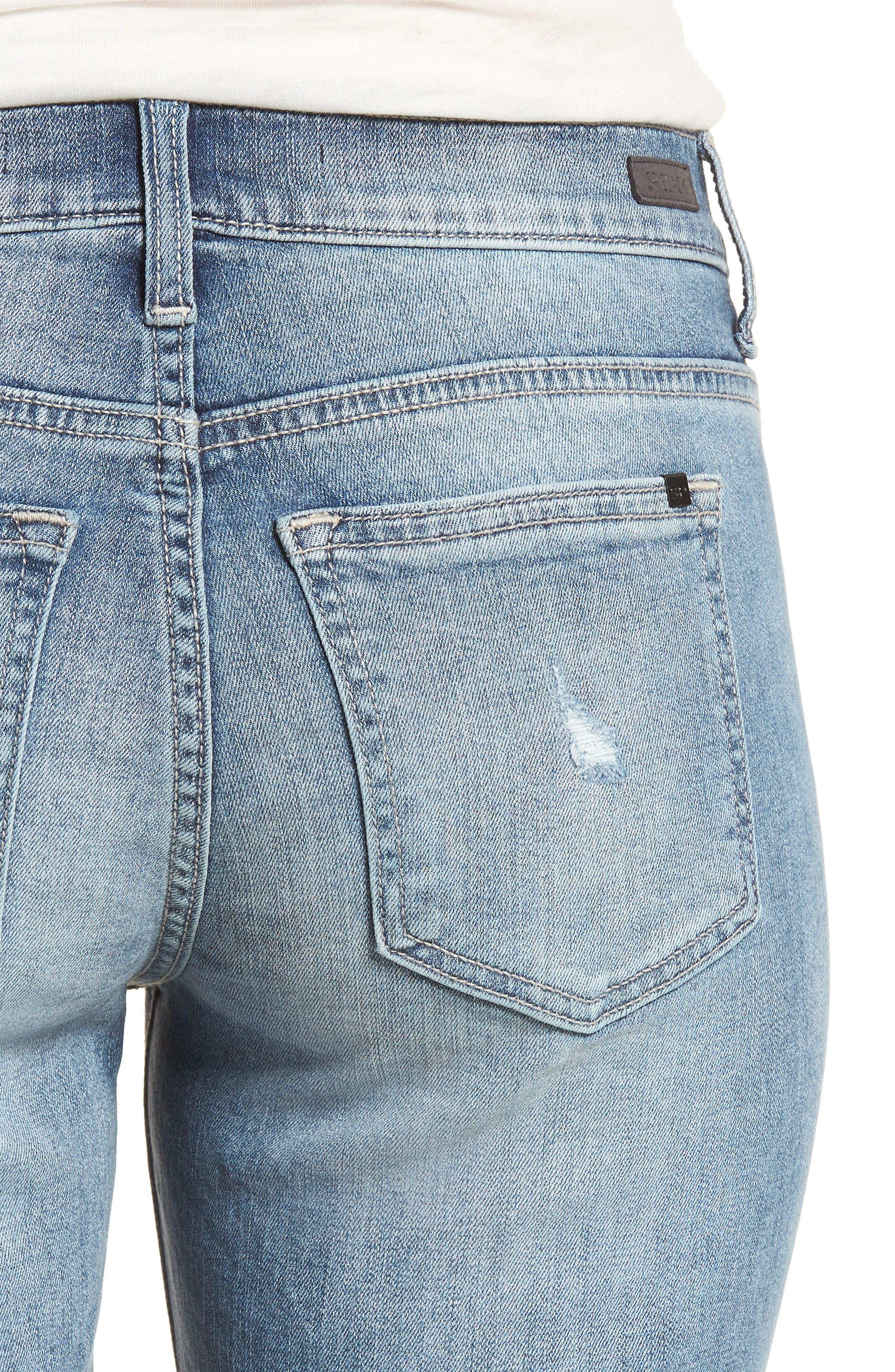 Ripped Denim Bermuda Shorts,                             Alternate thumbnail 4, color,                             Med Wash