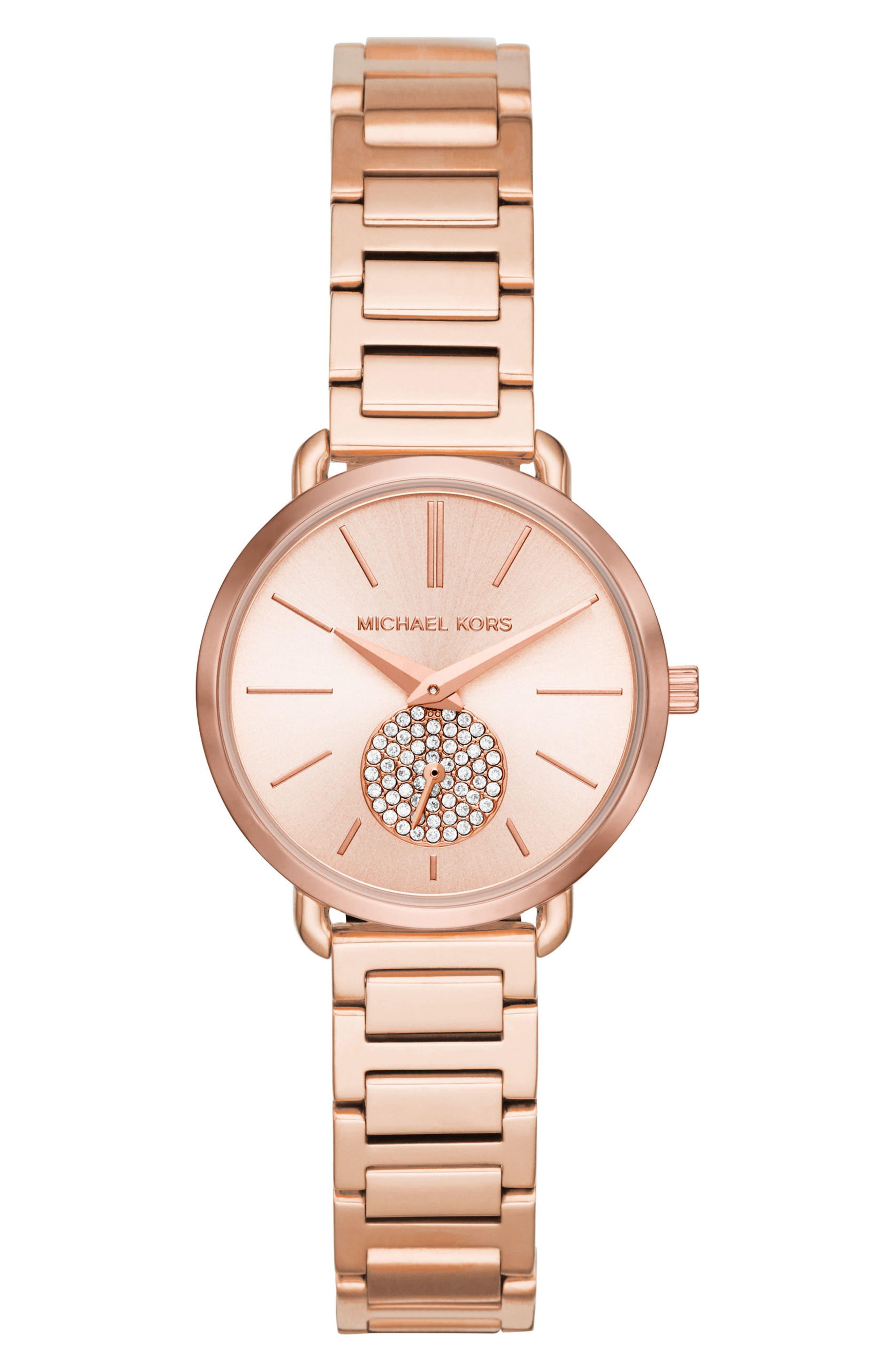 Portia Round Bracelet Watch, 31mm,                             Main thumbnail 1, color,                             Rose Gold