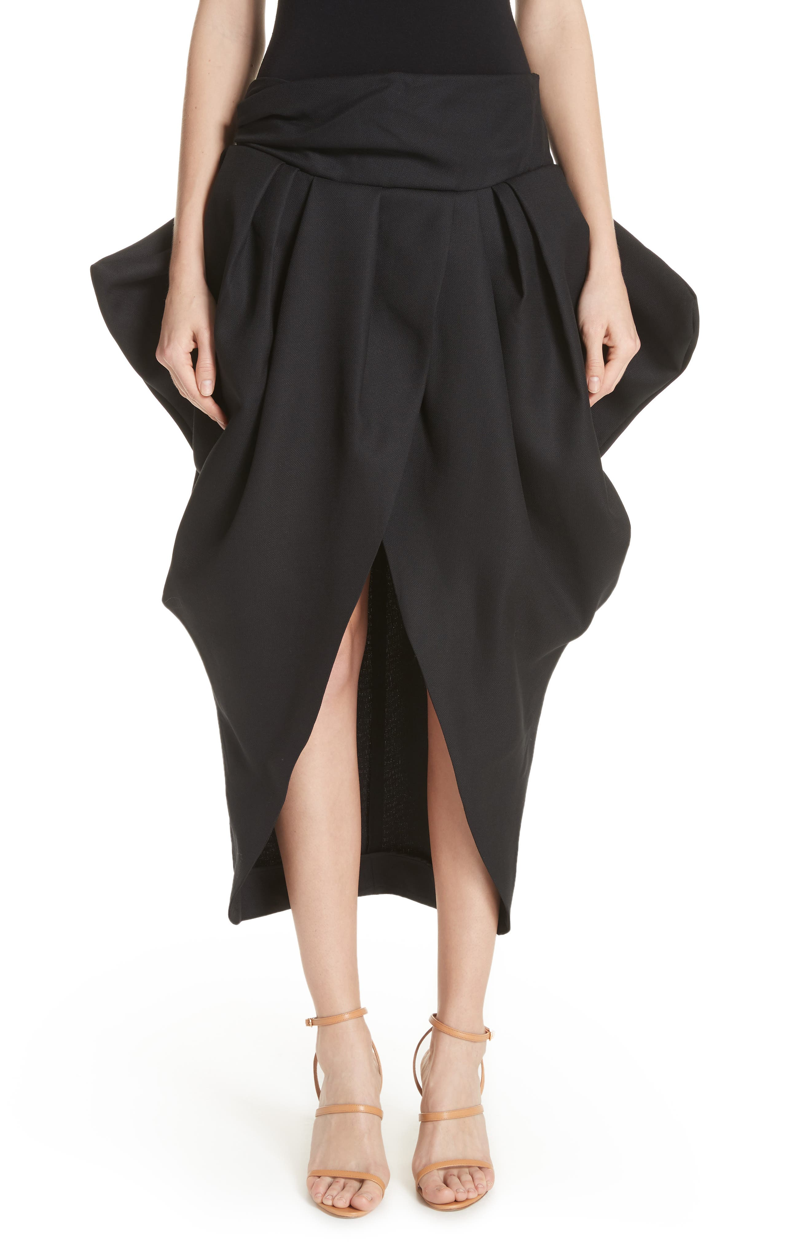 La Jupe Ilha Wool Midi Skirt,                             Main thumbnail 1, color,                             Black