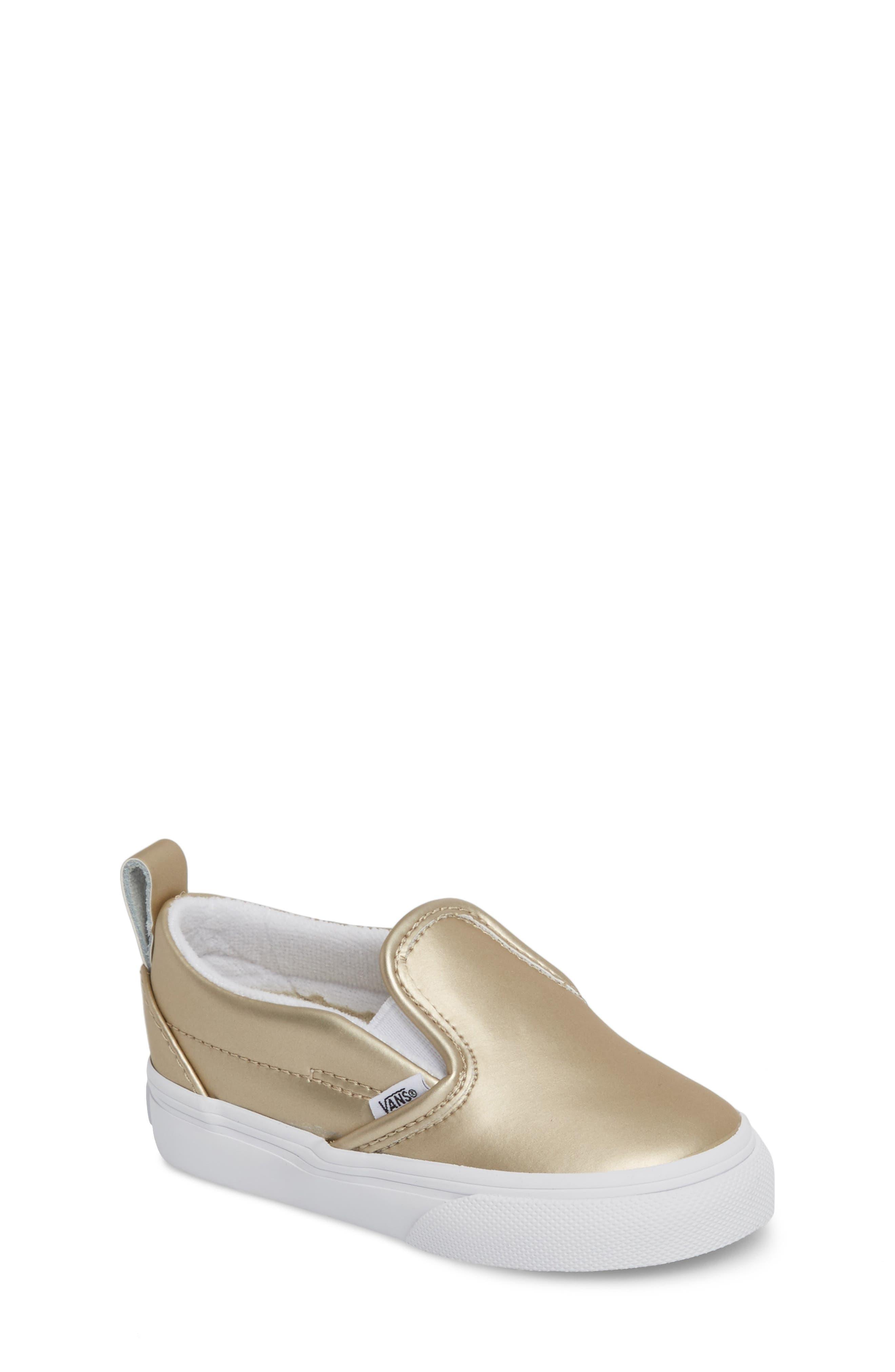Classic Slip-On V Sneaker,                             Main thumbnail 1, color,                             Muted Metallic Gold/ White