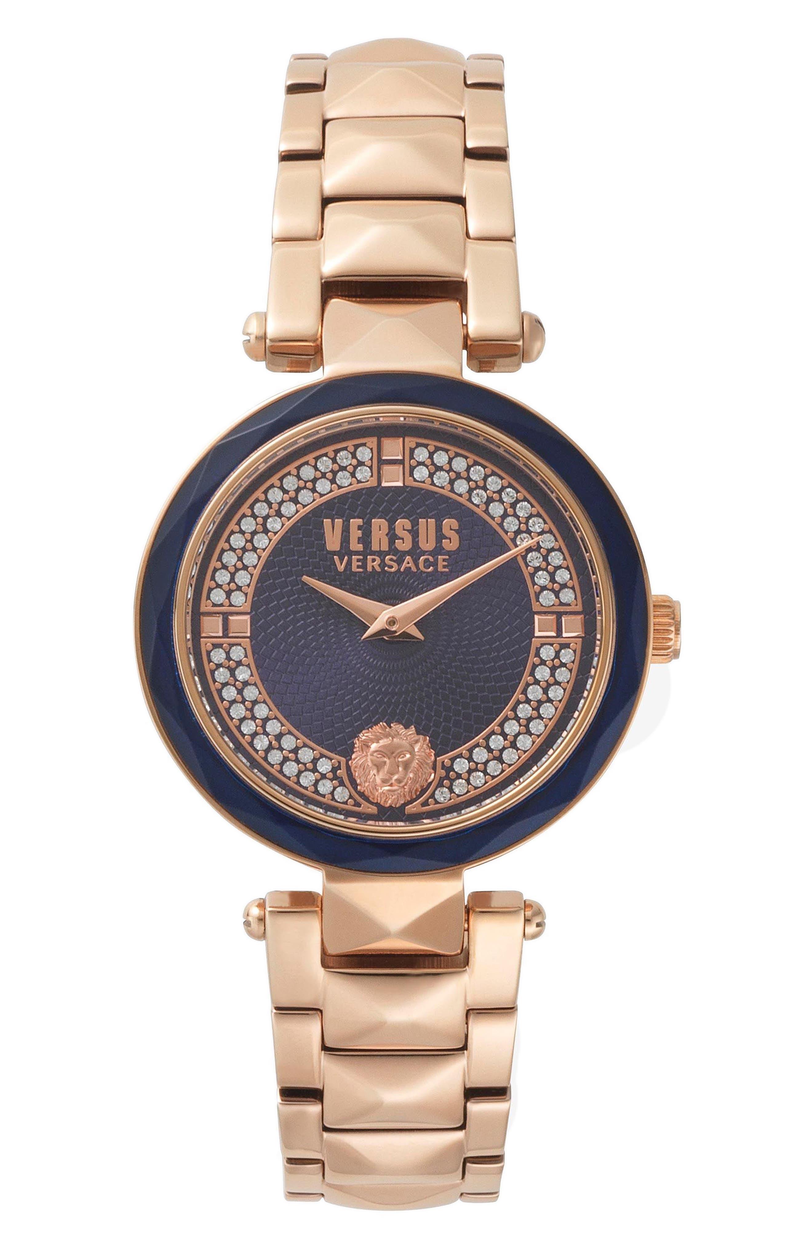 VERSUS by Versace Covent Garden Bracelet Watch, 36mm,                         Main,                         color, Rose Gold/ Blue/ Rose Gold