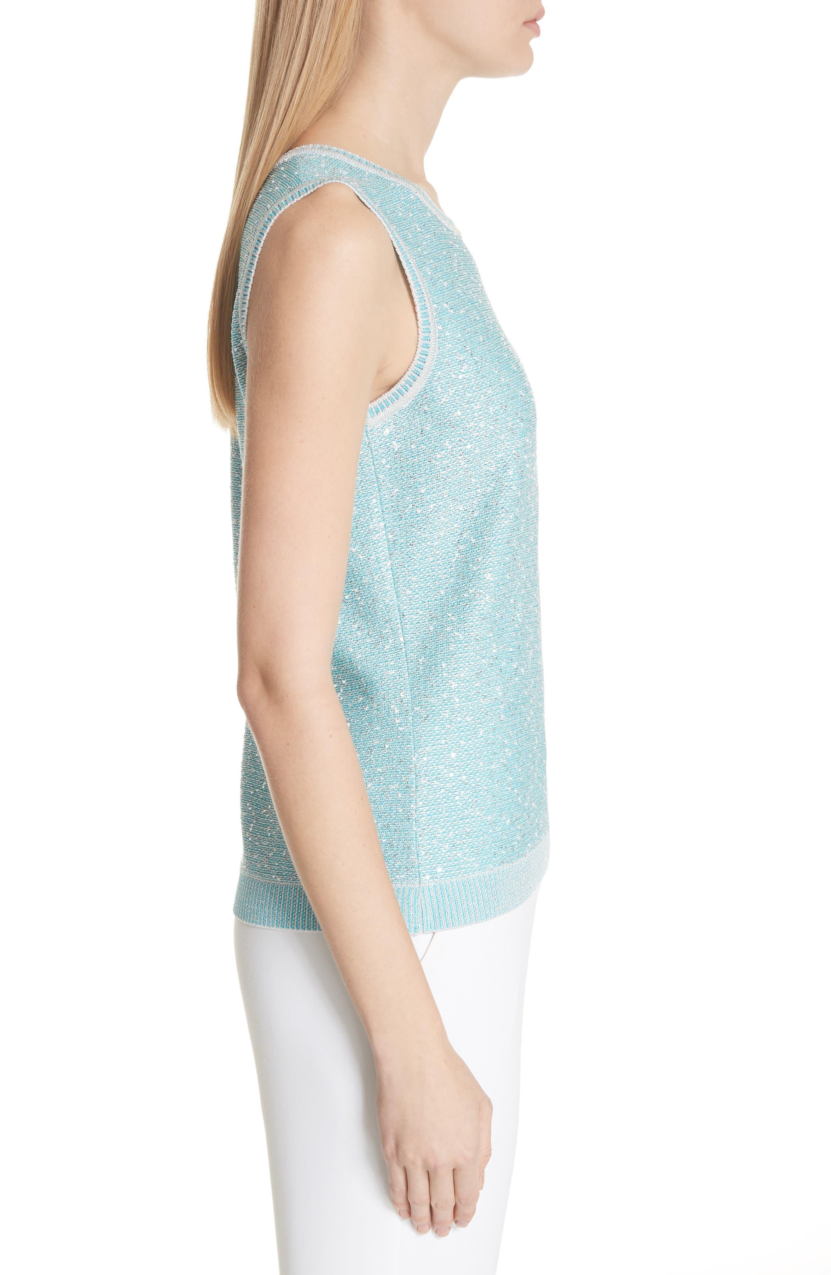 Flecked Sparkle Knit Shell,                             Alternate thumbnail 3, color,                             Aqua Multi