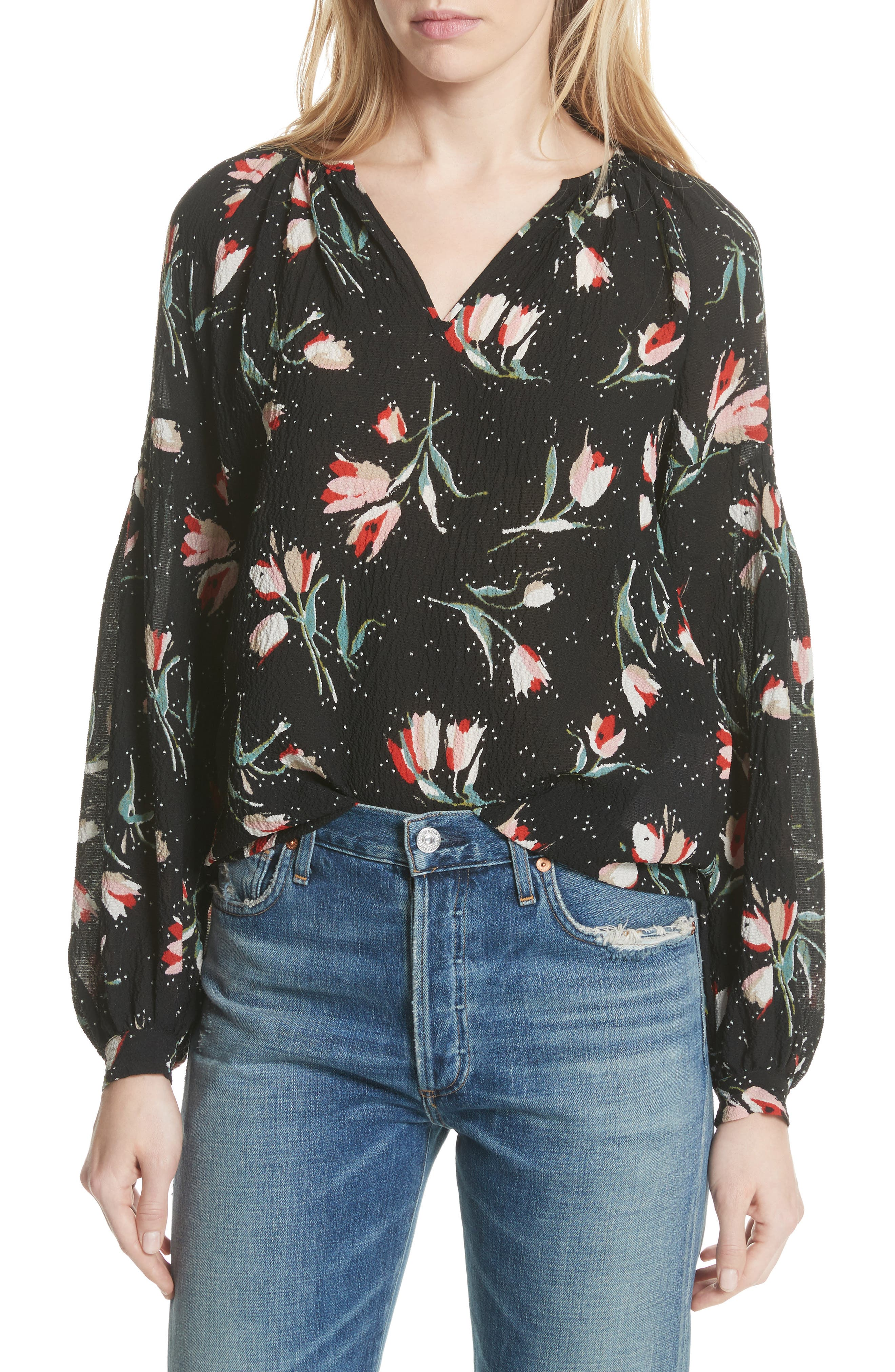 Stretch Silk Floral Top,                             Main thumbnail 1, color,                             Black Combo