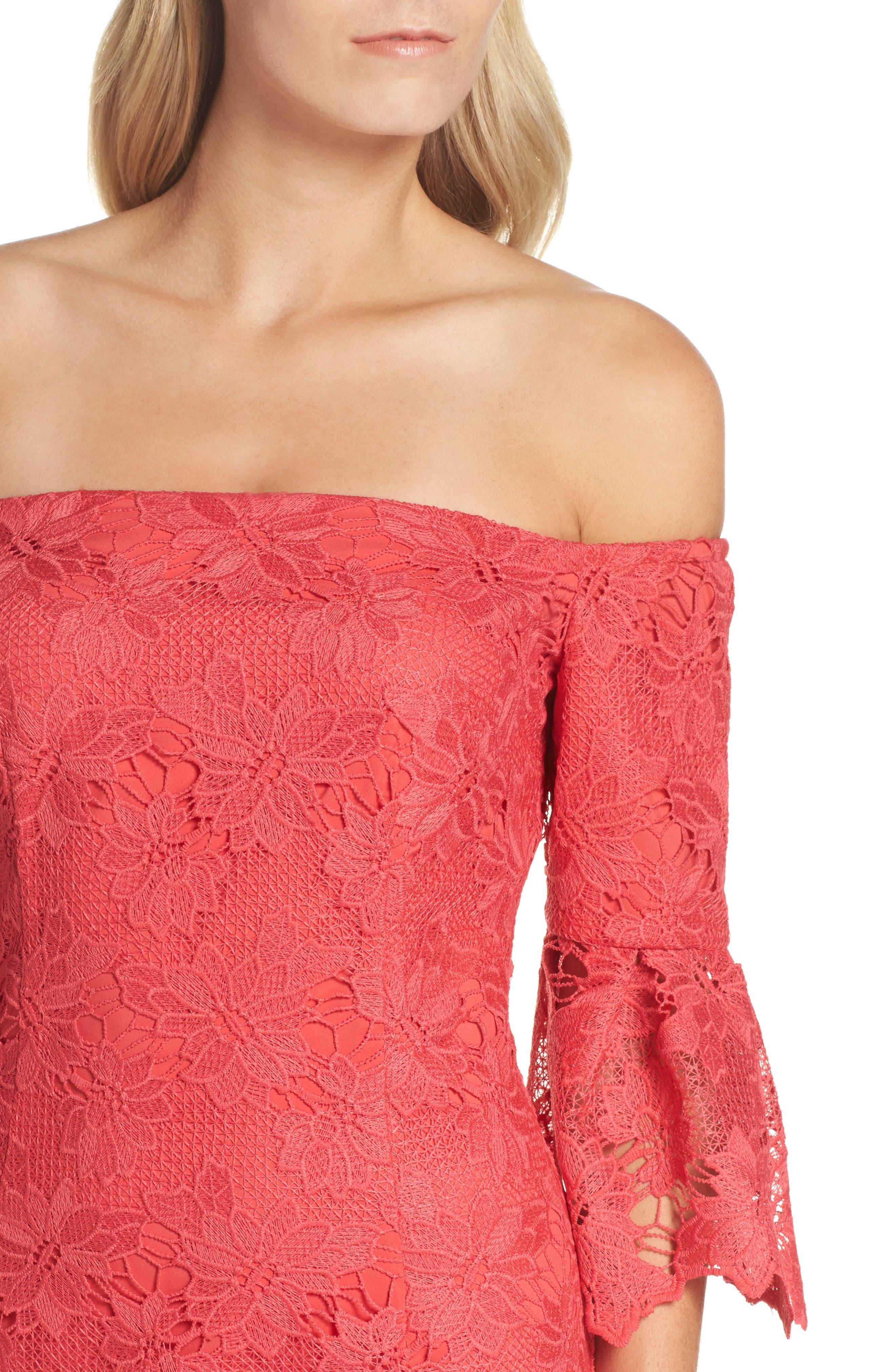Poppy Off the Shoulder Lace Dress,                             Alternate thumbnail 4, color,                             Poppy