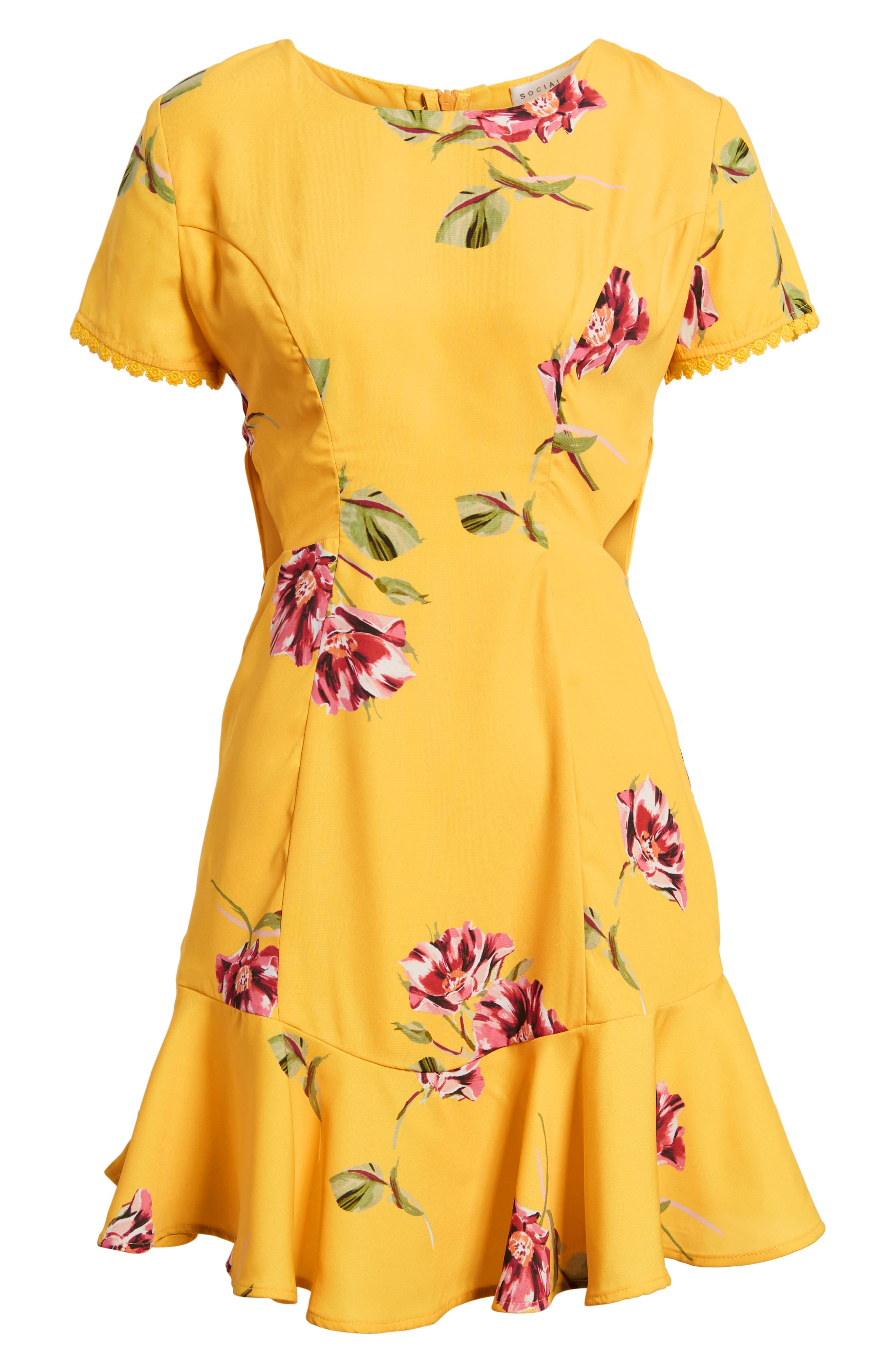 Cutout Fit & Flare Dress,                             Alternate thumbnail 6, color,                             Yellow Floral