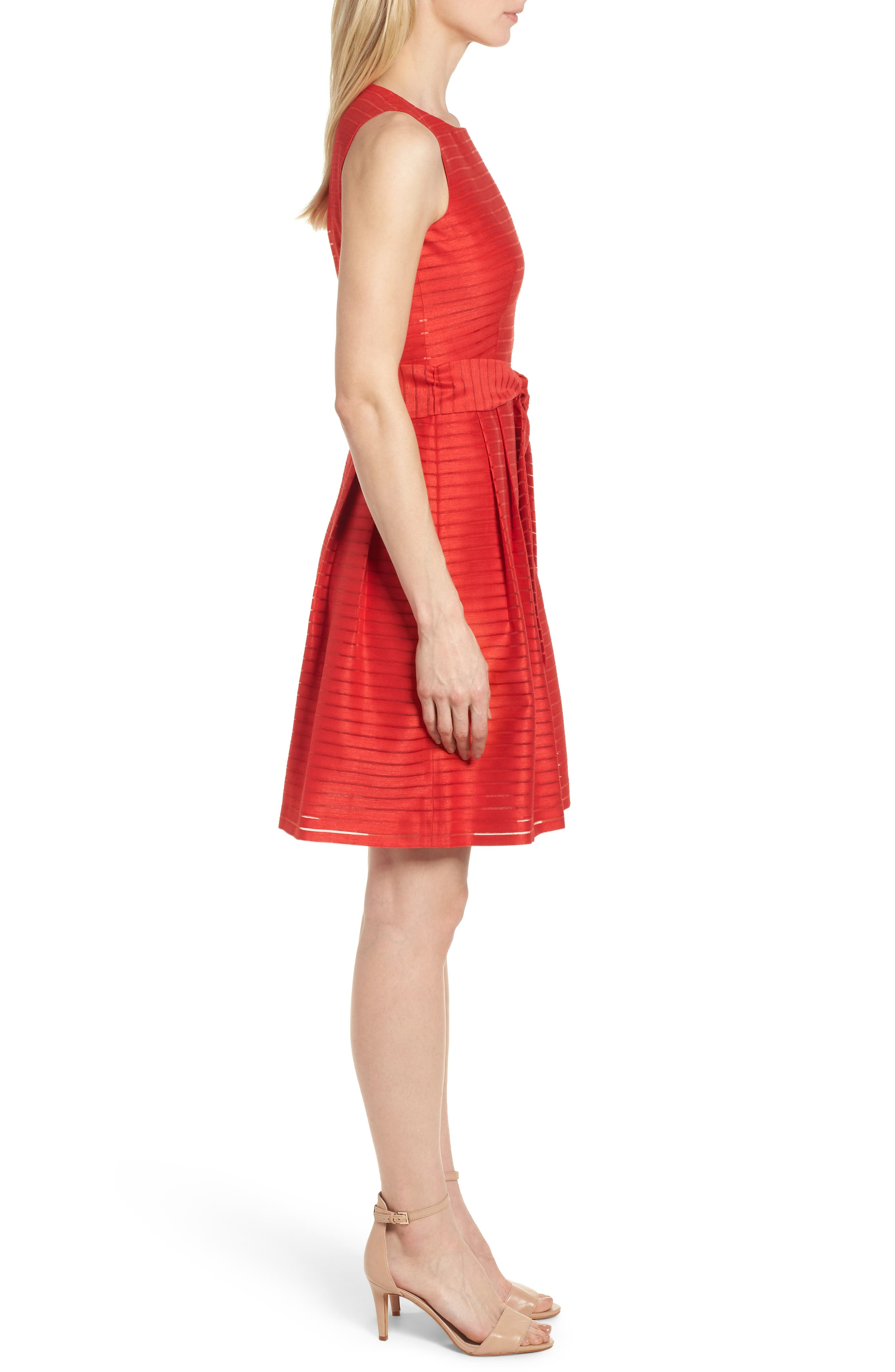 Shadow Stripe Fit & Flare Dress,                             Alternate thumbnail 3, color,                             Tomato