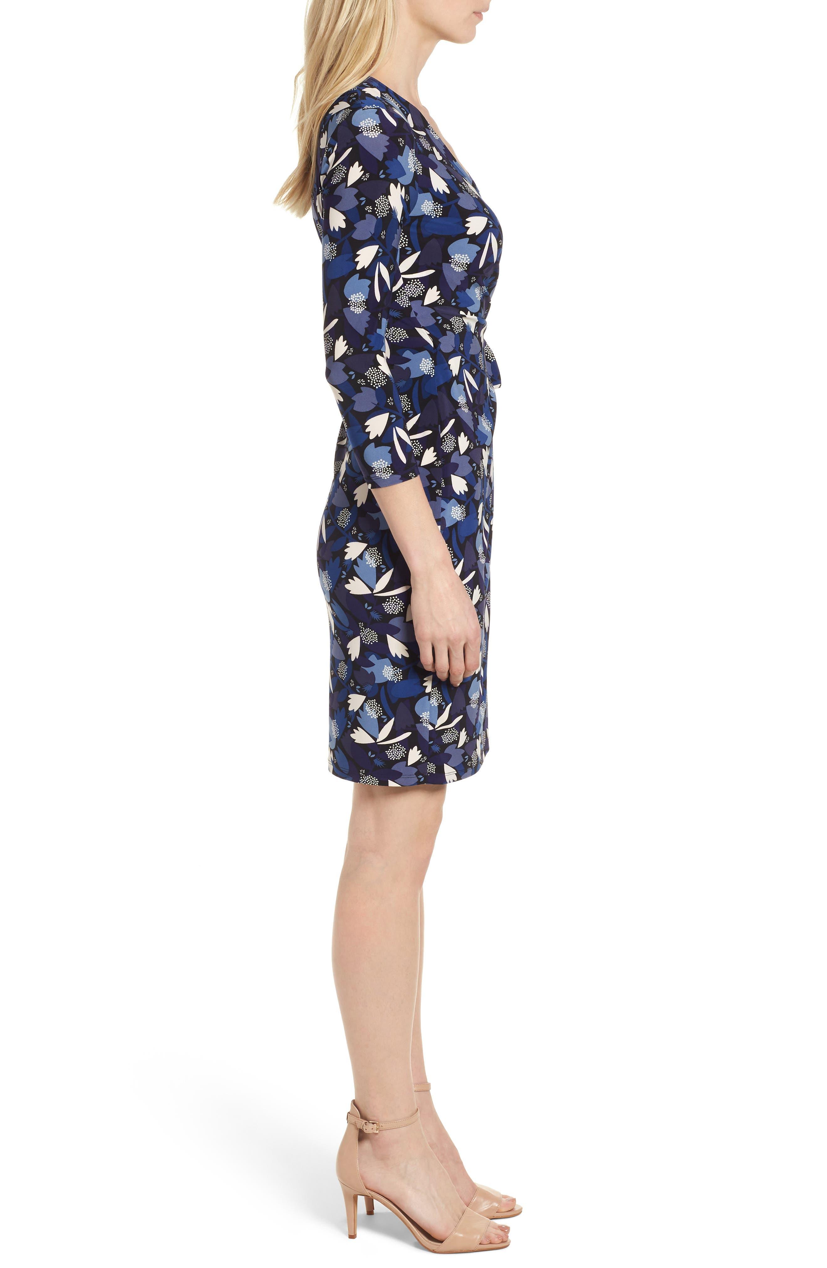 New York Amalfi Print Classic Wrap Dress,                             Alternate thumbnail 3, color,                             Black/ Monaco Combo