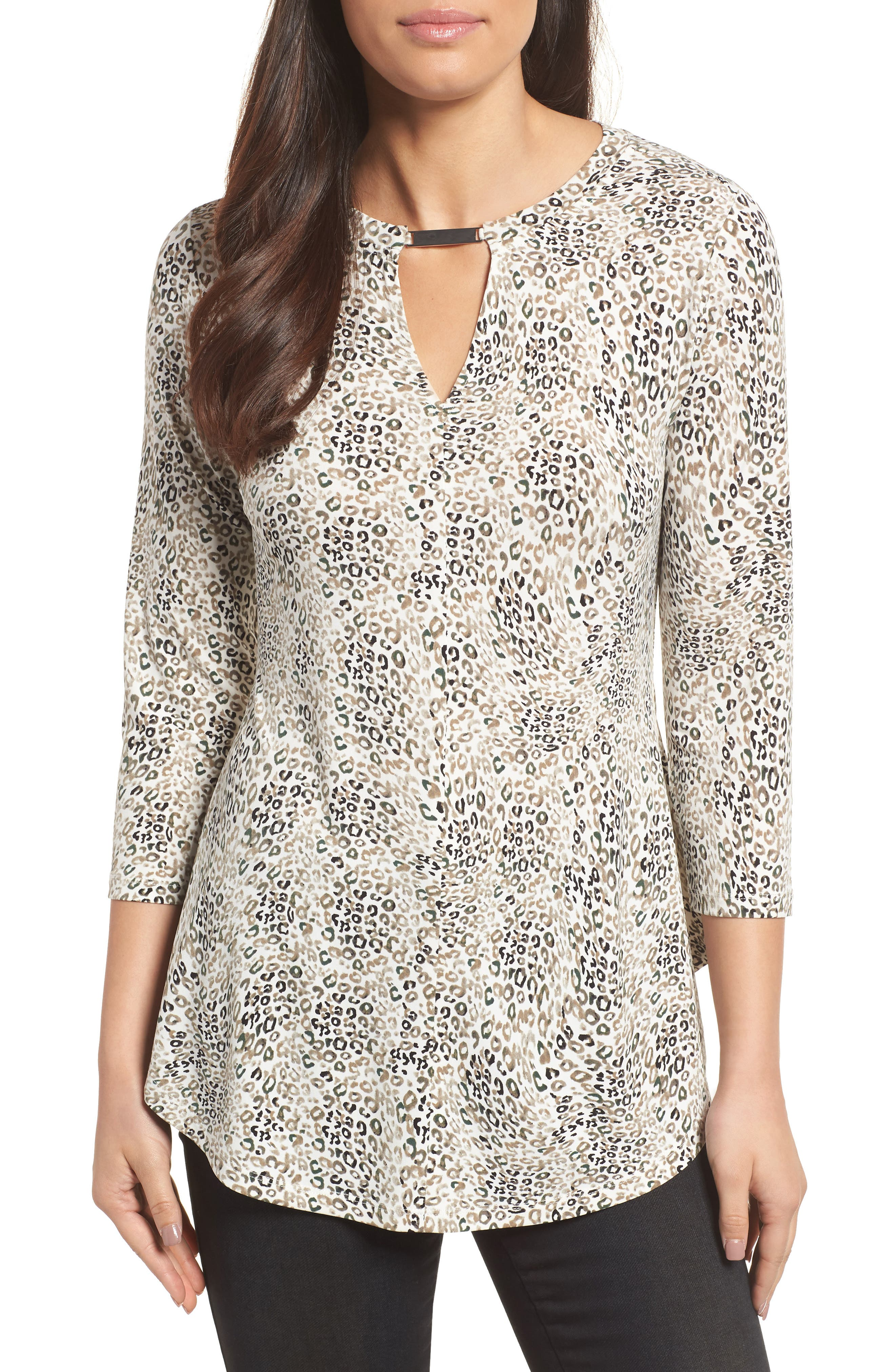 Leopard Keyhole Top,                             Main thumbnail 1, color,                             103-New Ivory