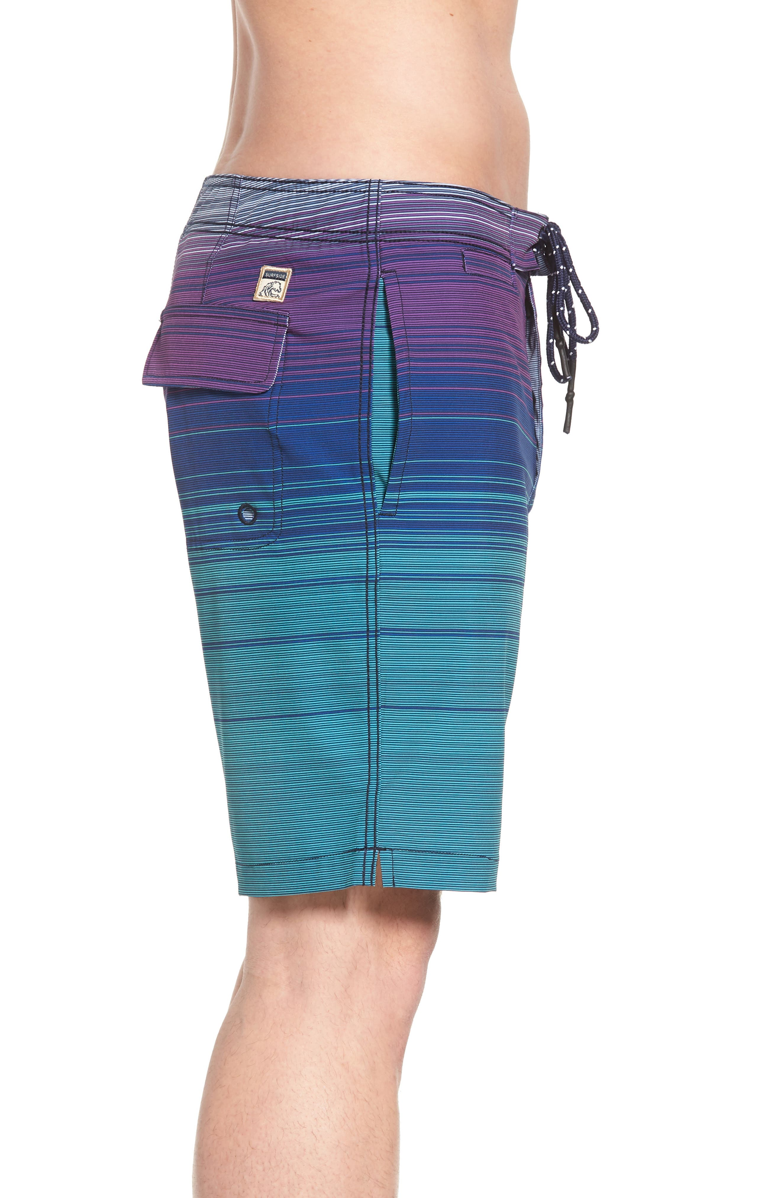 Ombré Stretch Stripe Board Shorts,                             Alternate thumbnail 3, color,                             Silver Pine