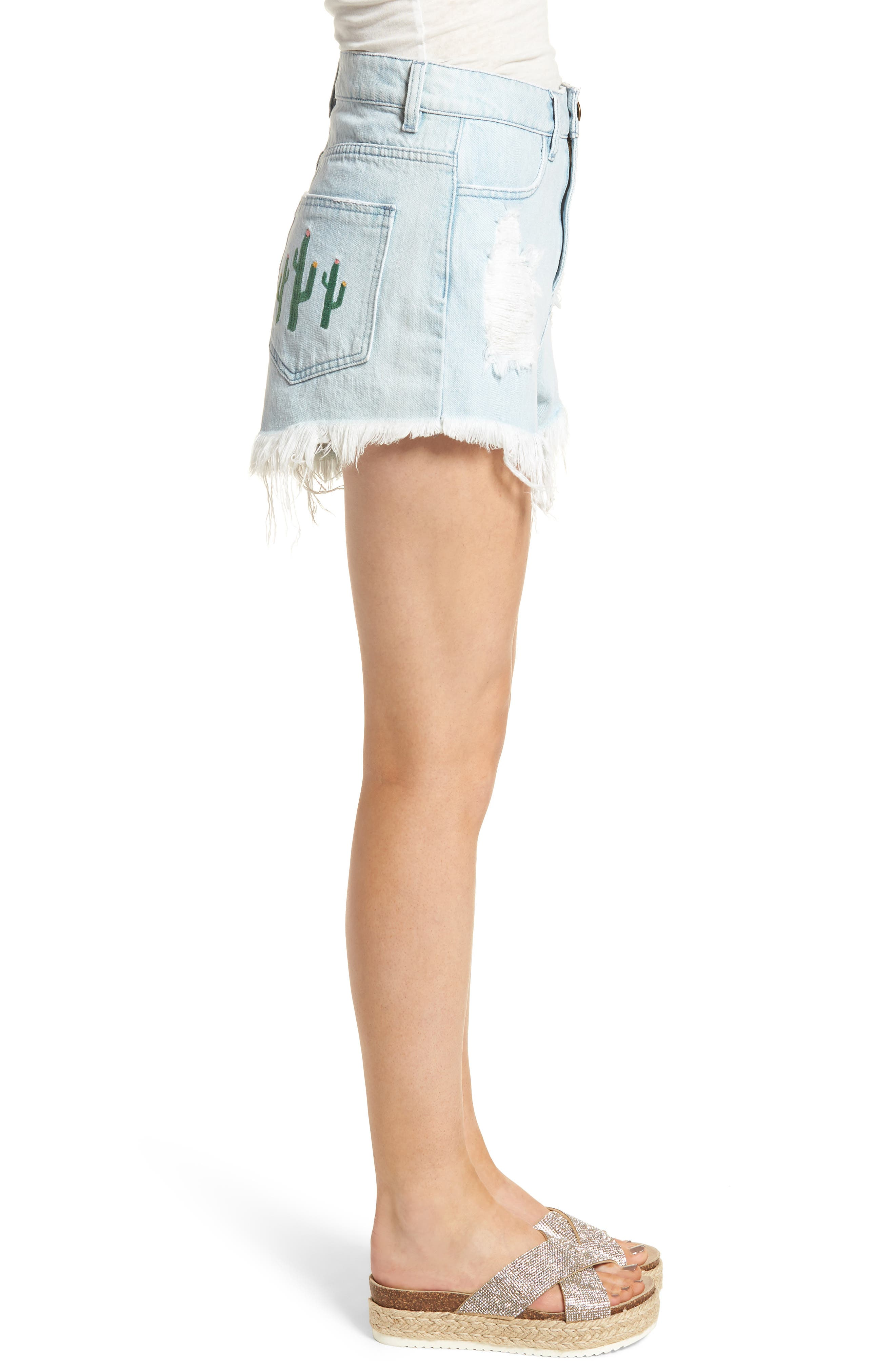 Wyoming High Waist Cutoff Denim Shorts,                             Alternate thumbnail 3, color,                             Whitewater With Cactus