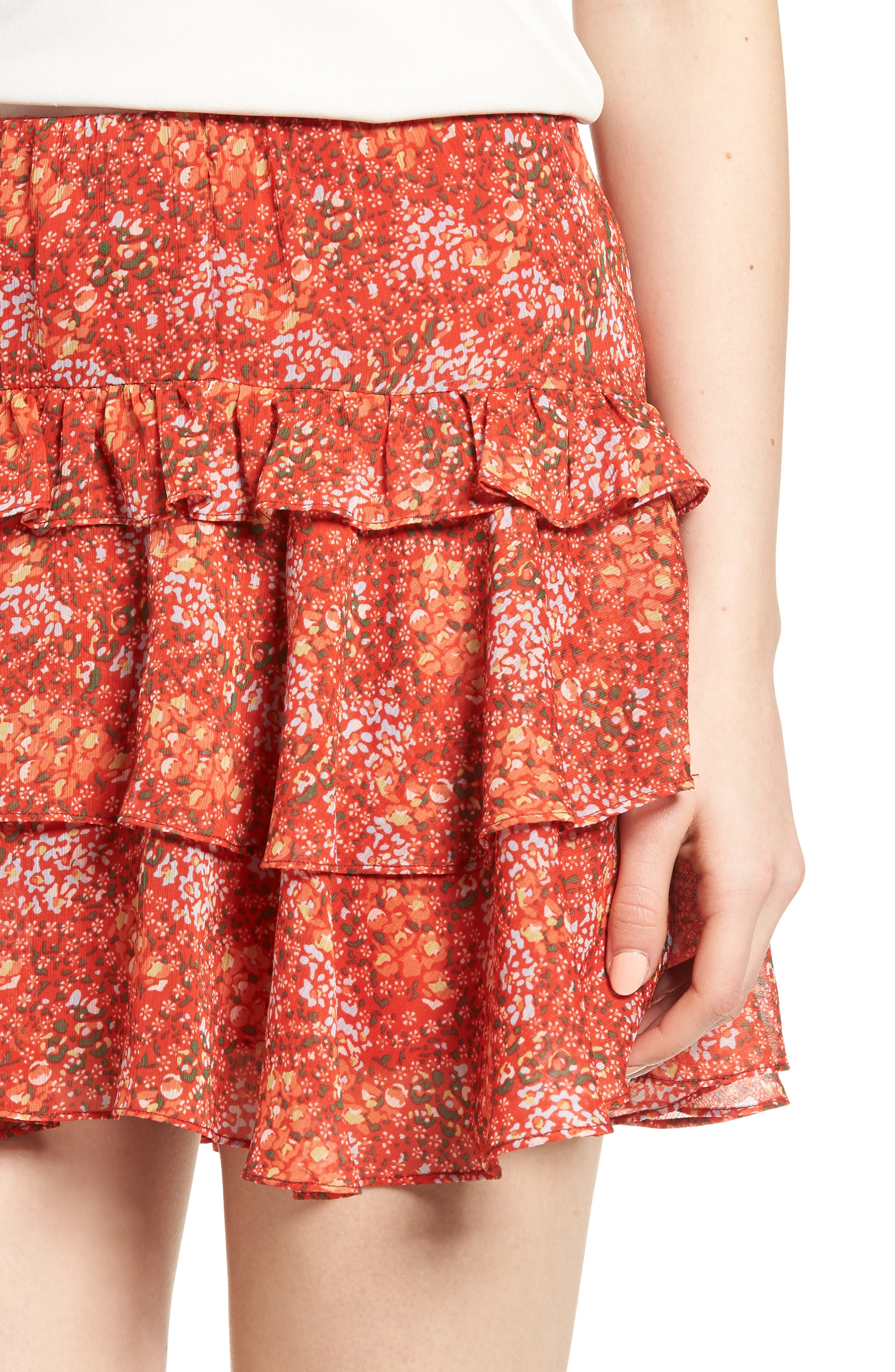 Phoebe Ruffle Tier Skirt,                             Alternate thumbnail 4, color,                             Red Multi
