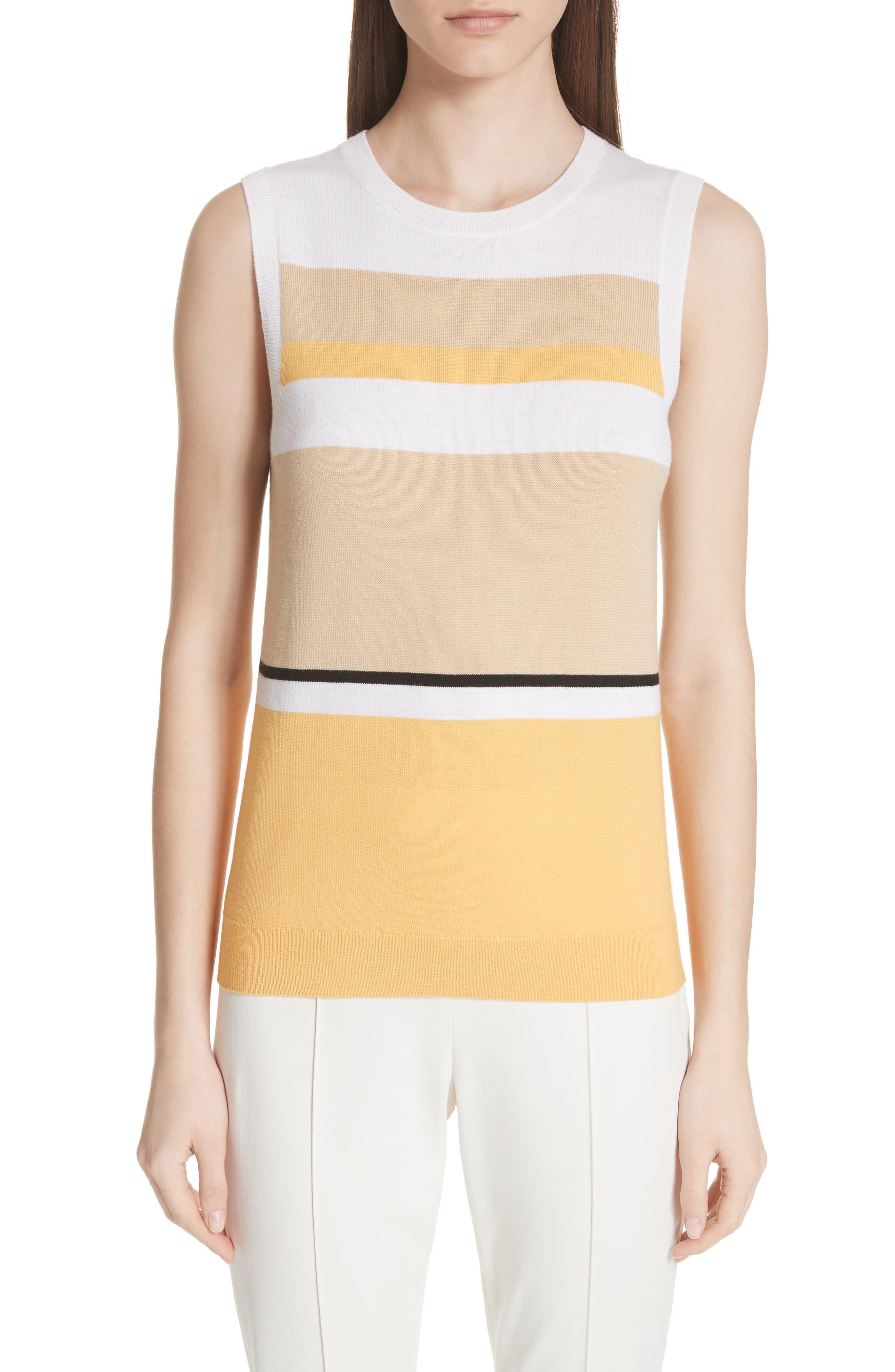 Stripe Jersey Knit Shell,                             Main thumbnail 1, color,                             White Multi