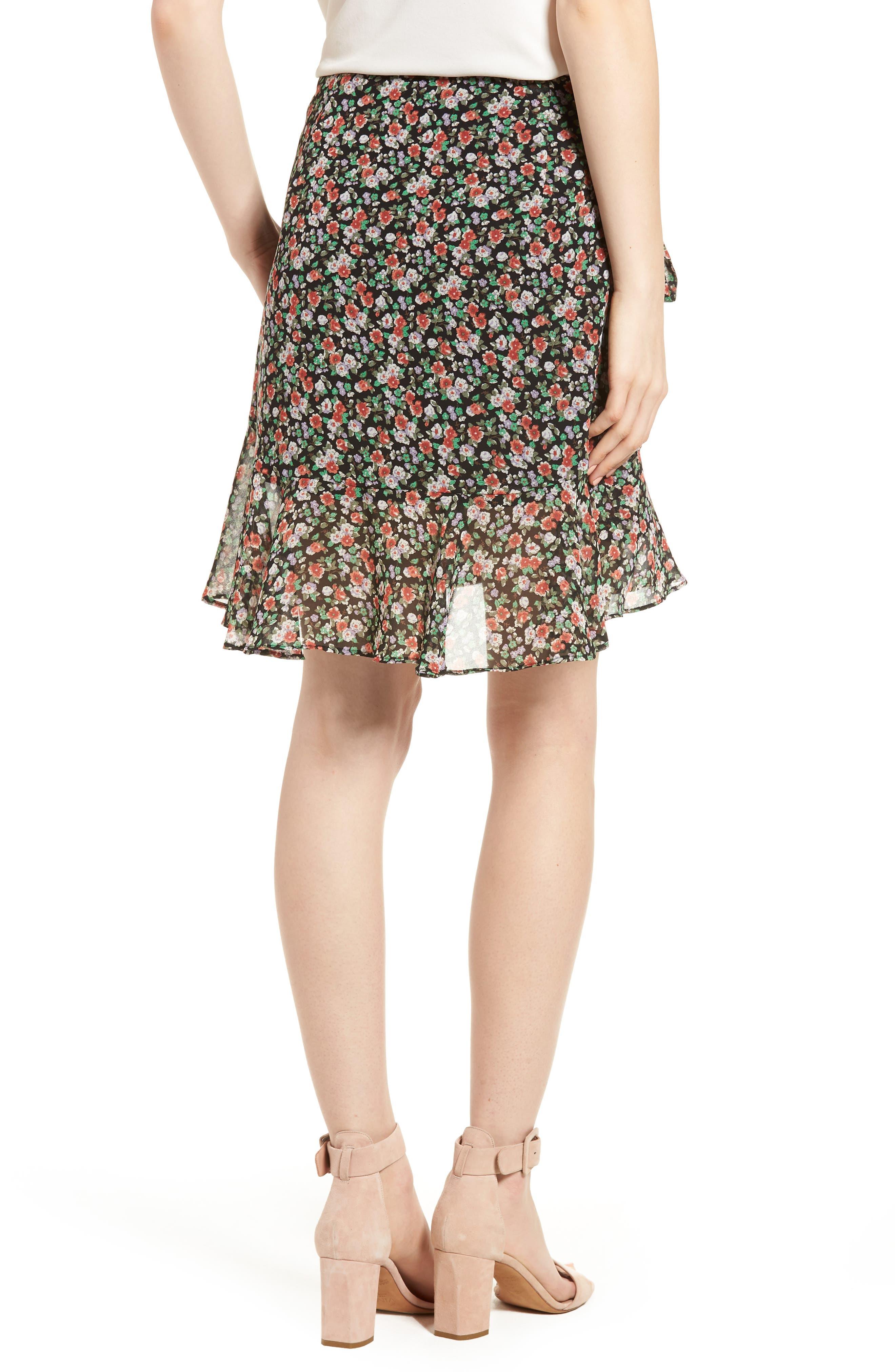 Alice Faux Wrap Skirt,                             Alternate thumbnail 2, color,                             Black Multi