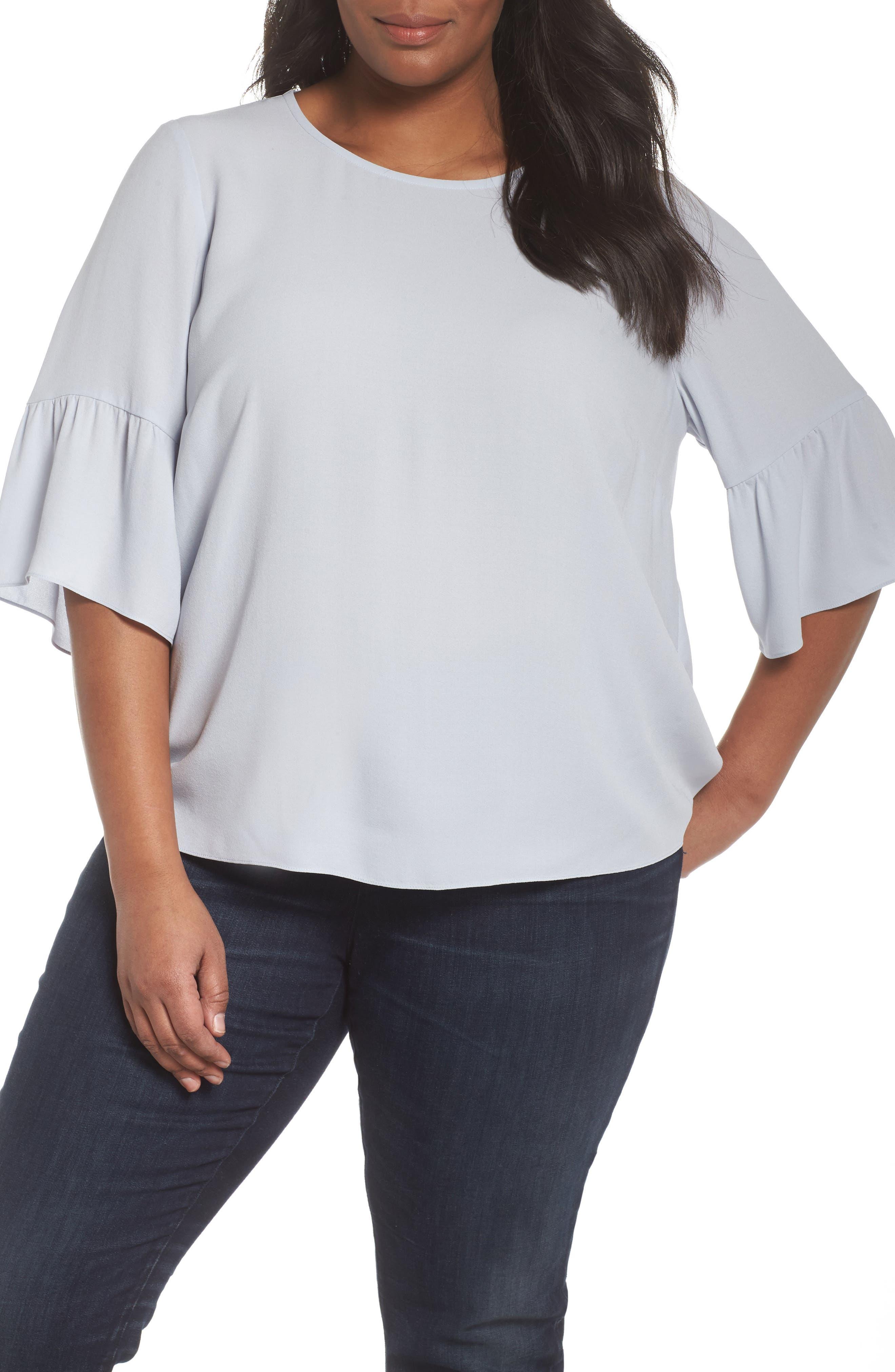 Ruffled Sleeve Silk Top,                         Main,                         color, India Sky