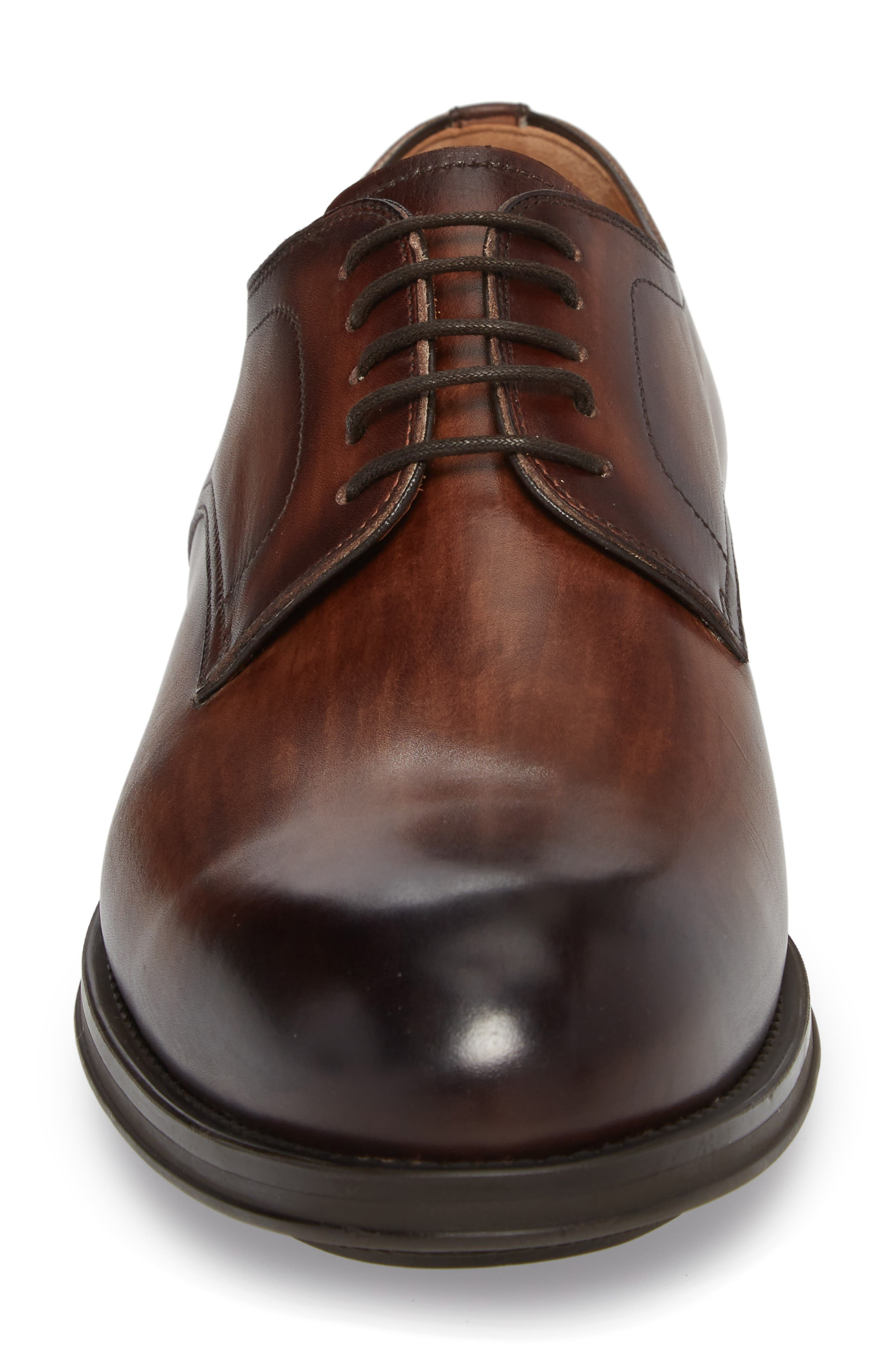 Solano Plain Toe Derby,                             Alternate thumbnail 4, color,                             Brown Leather