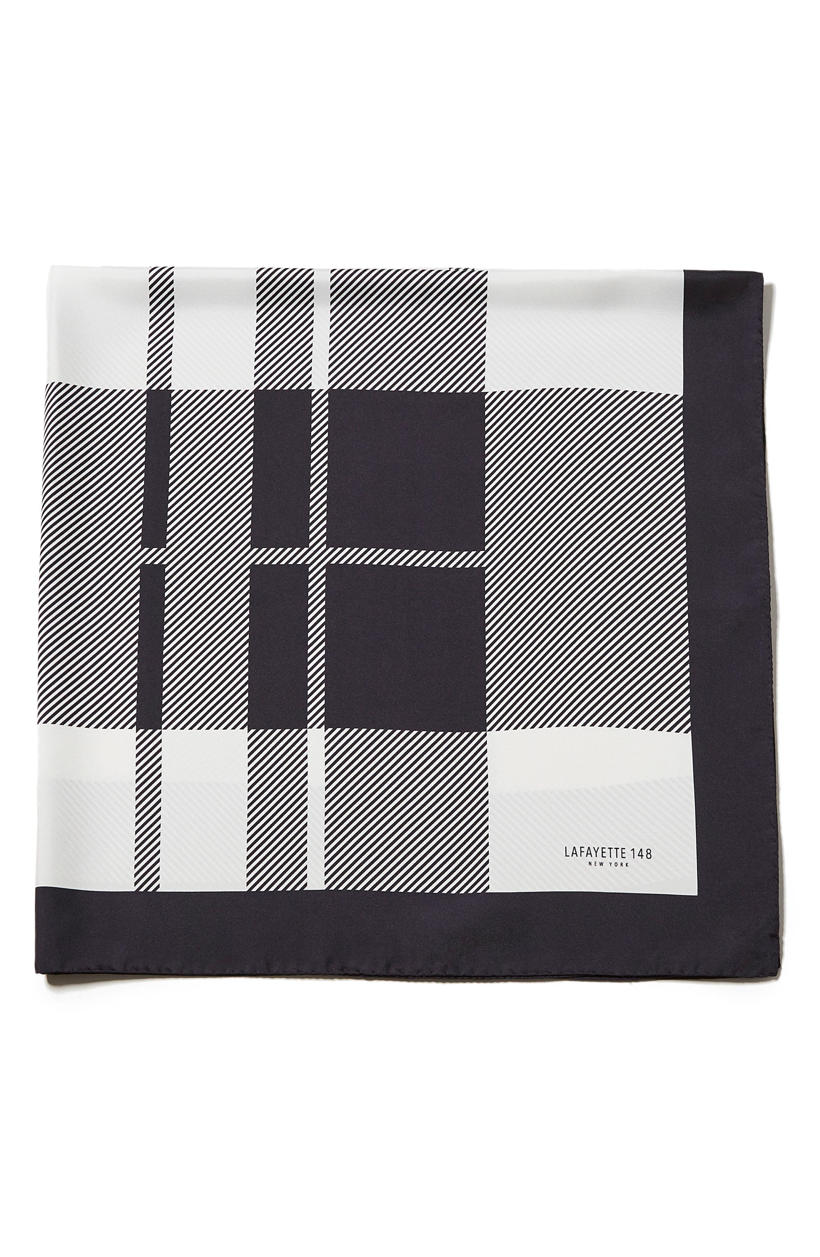 Lafayette 148 New York Plaid Silk Scarf