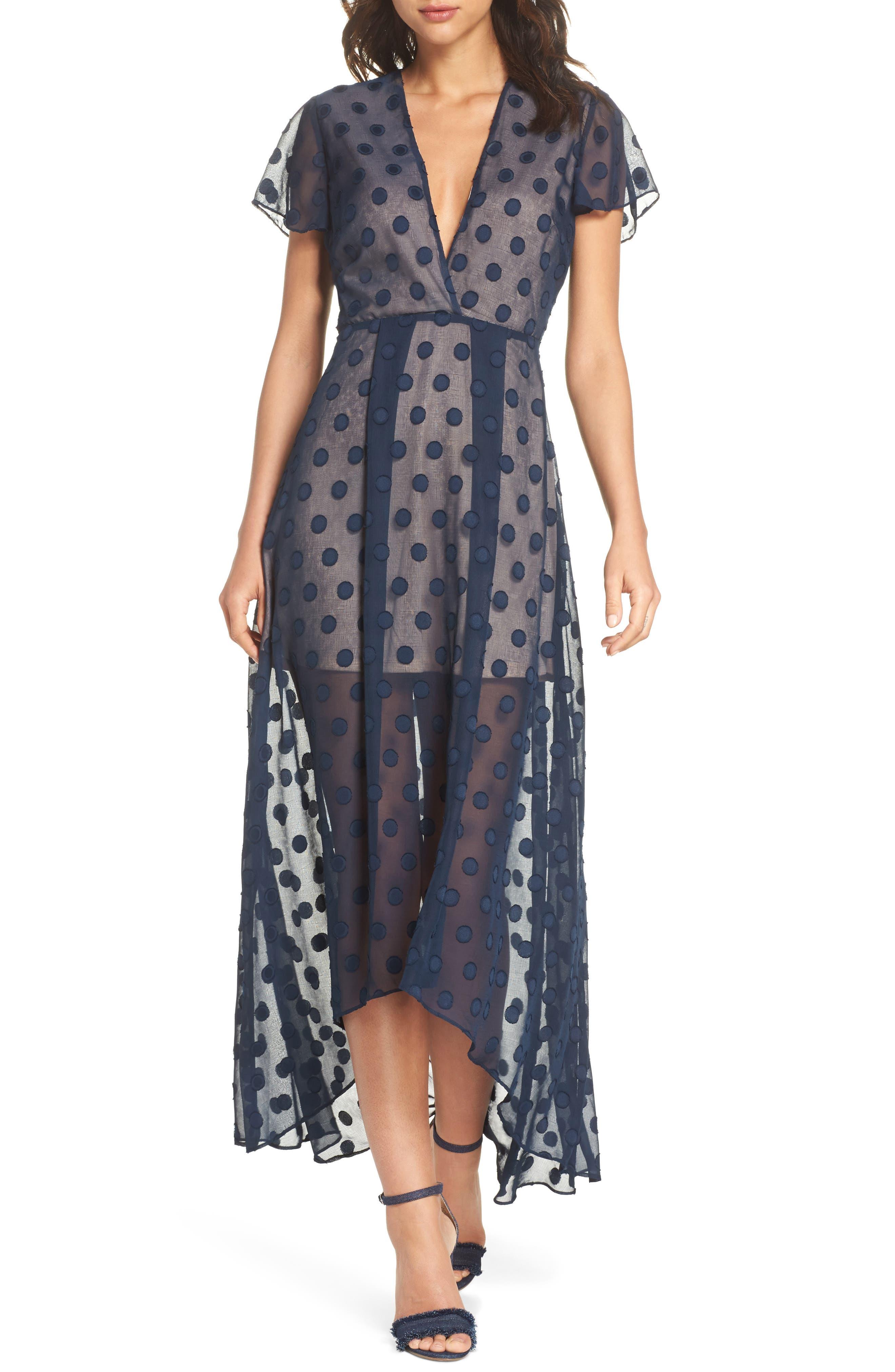 Alexis Dot Jacquard Maxi Dress,                             Main thumbnail 1, color,                             Navy