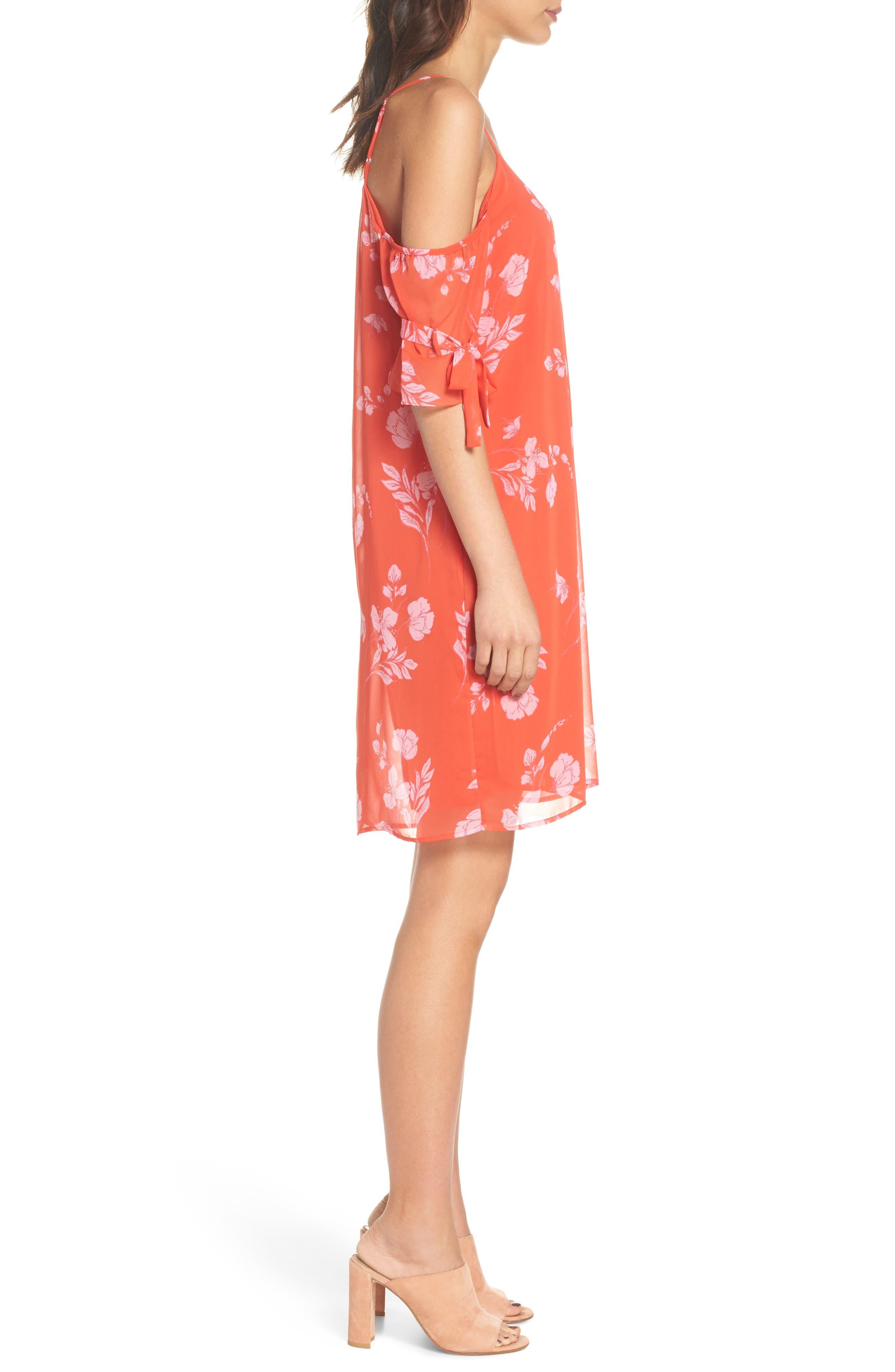 Cold Shoulder Dress,                             Alternate thumbnail 3, color,                             Coral Multi