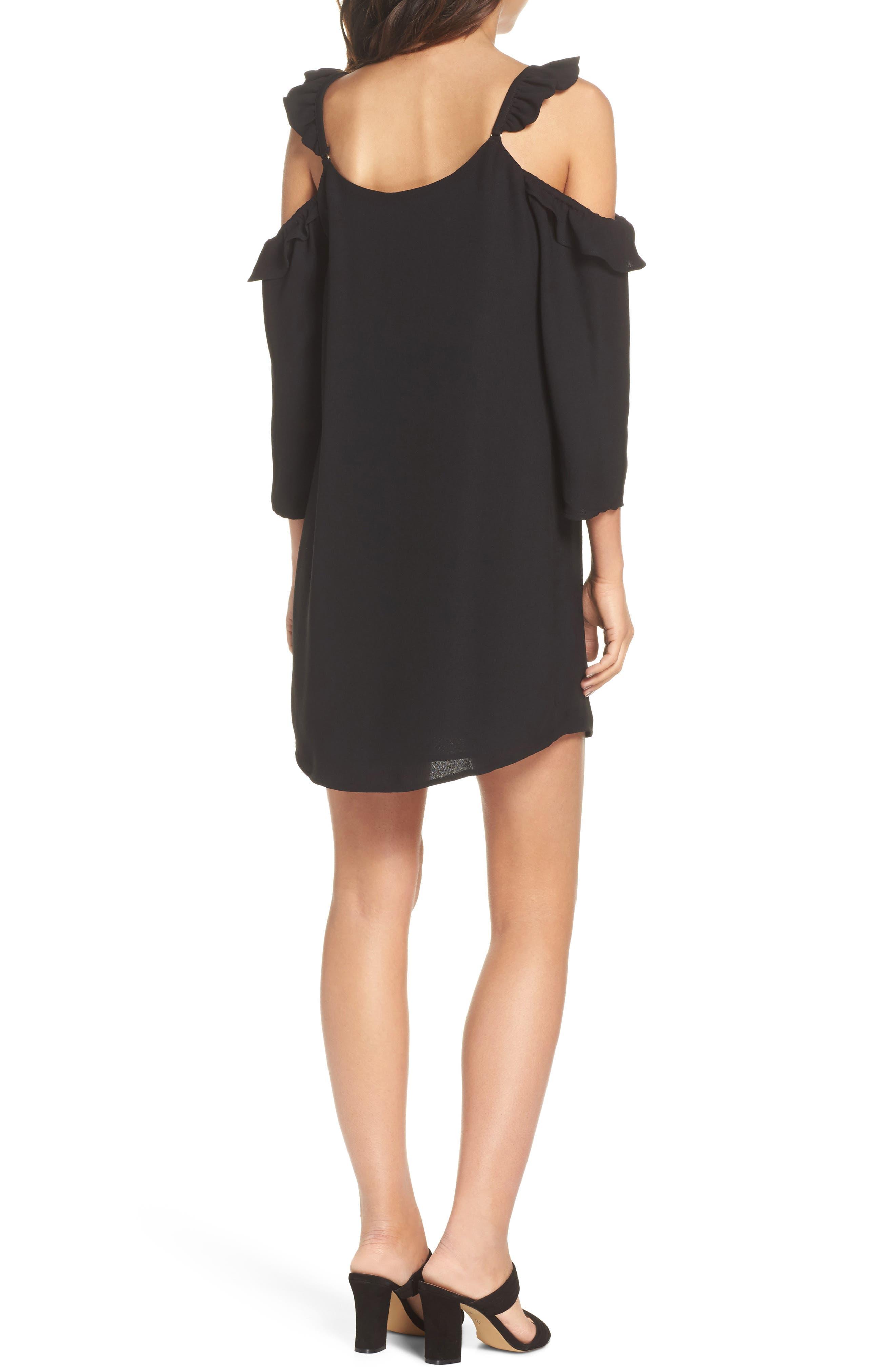 Ruffle Cold Shoulder Dress,                             Alternate thumbnail 2, color,                             Black