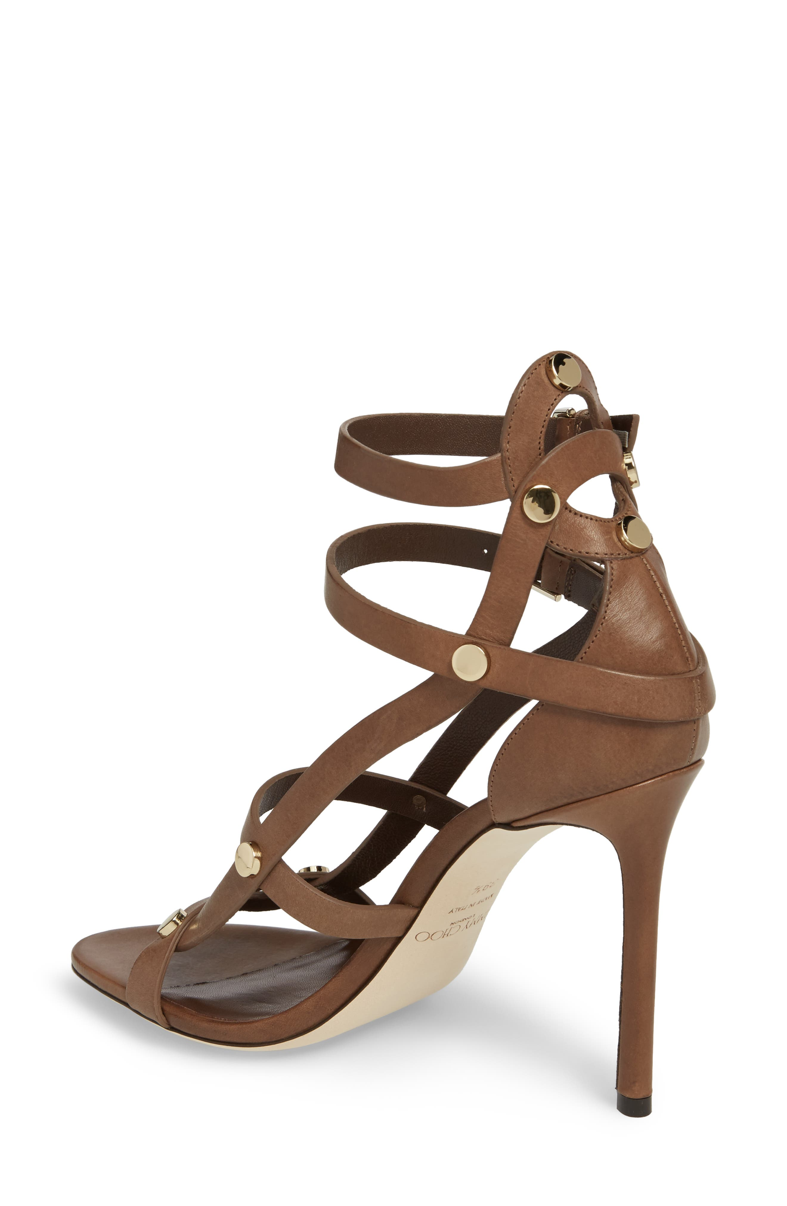 Motoko Studded Cage Sandal,                             Alternate thumbnail 2, color,                             Cacao Brown
