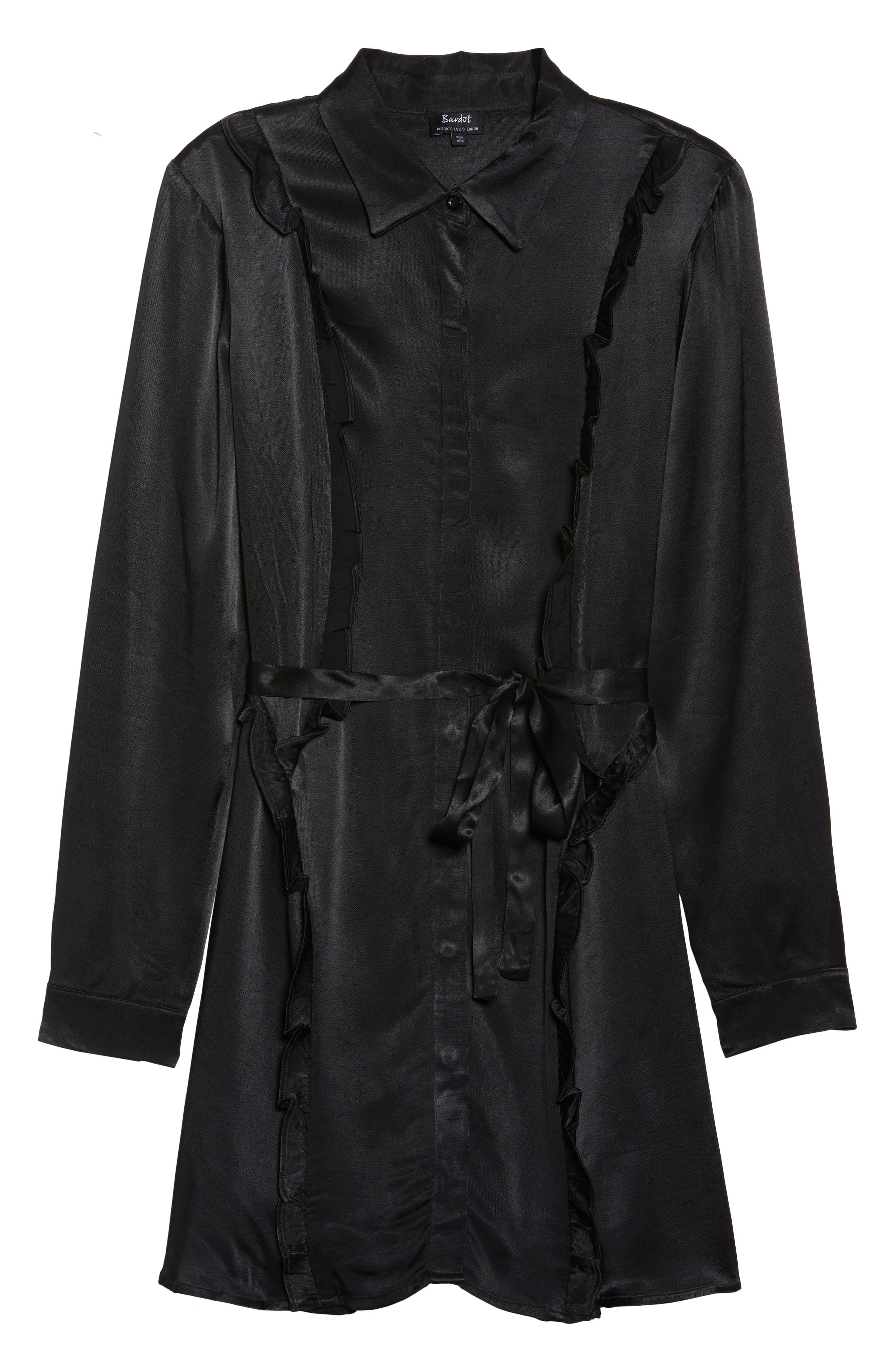 Cassia Ruffle Trim Shirtdress,                             Alternate thumbnail 6, color,                             Black
