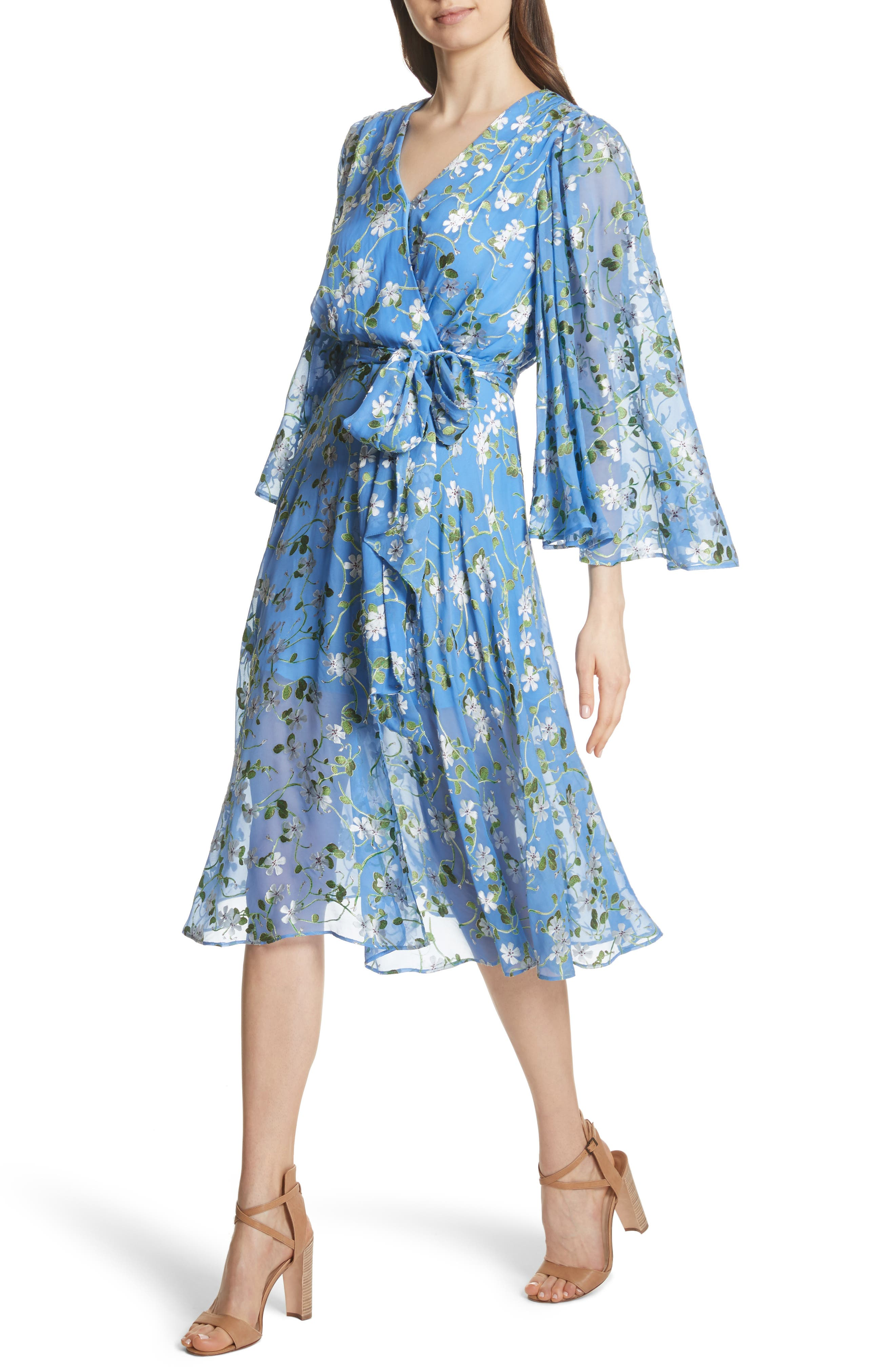 Halsey Bell Sleeve Faux Wrap Dress,                             Alternate thumbnail 4, color,                             Spring Primrose-Cerulean