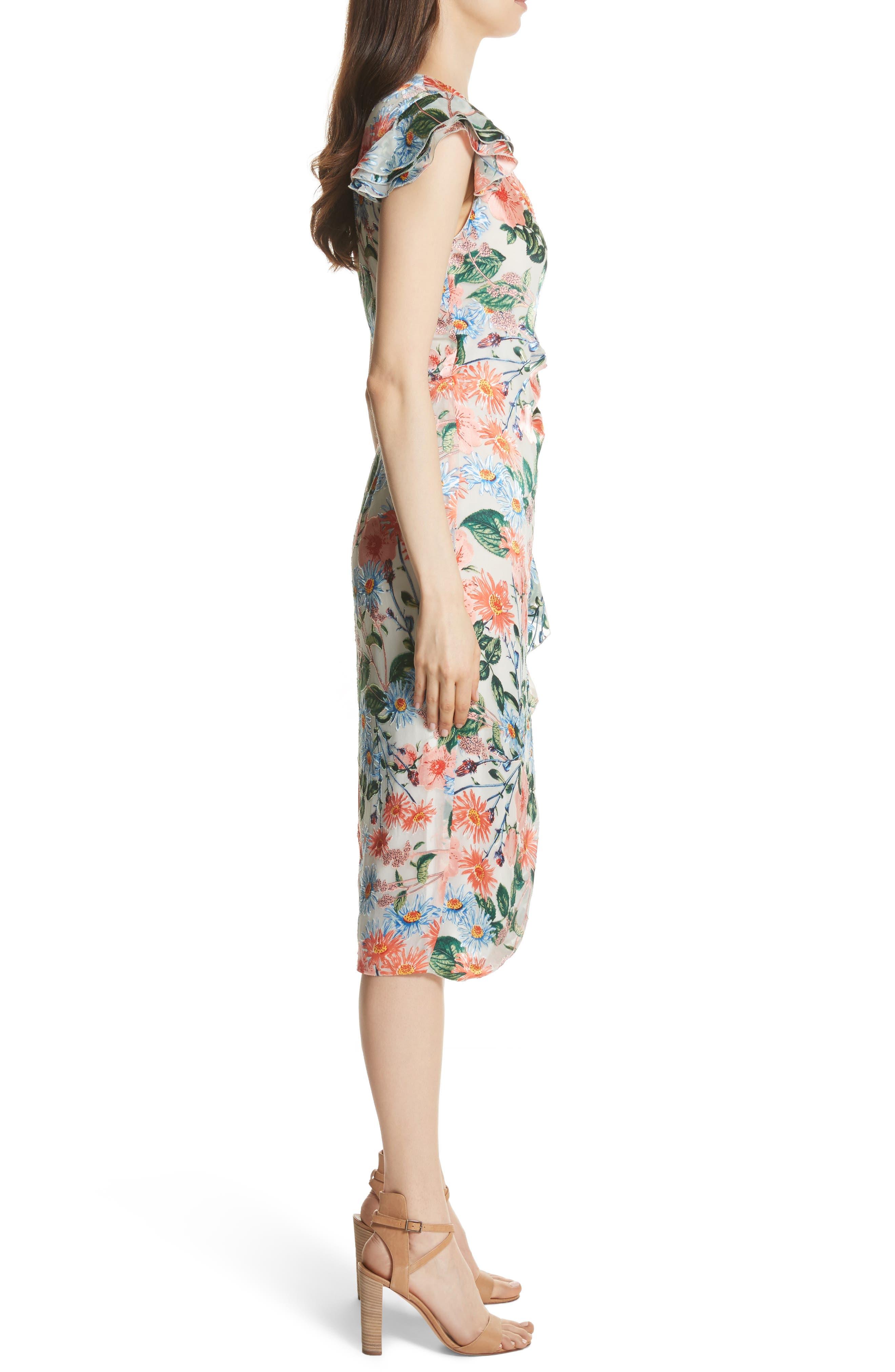 Garnet Floral Wrap Dress,                             Alternate thumbnail 3, color,                             Floral Fields