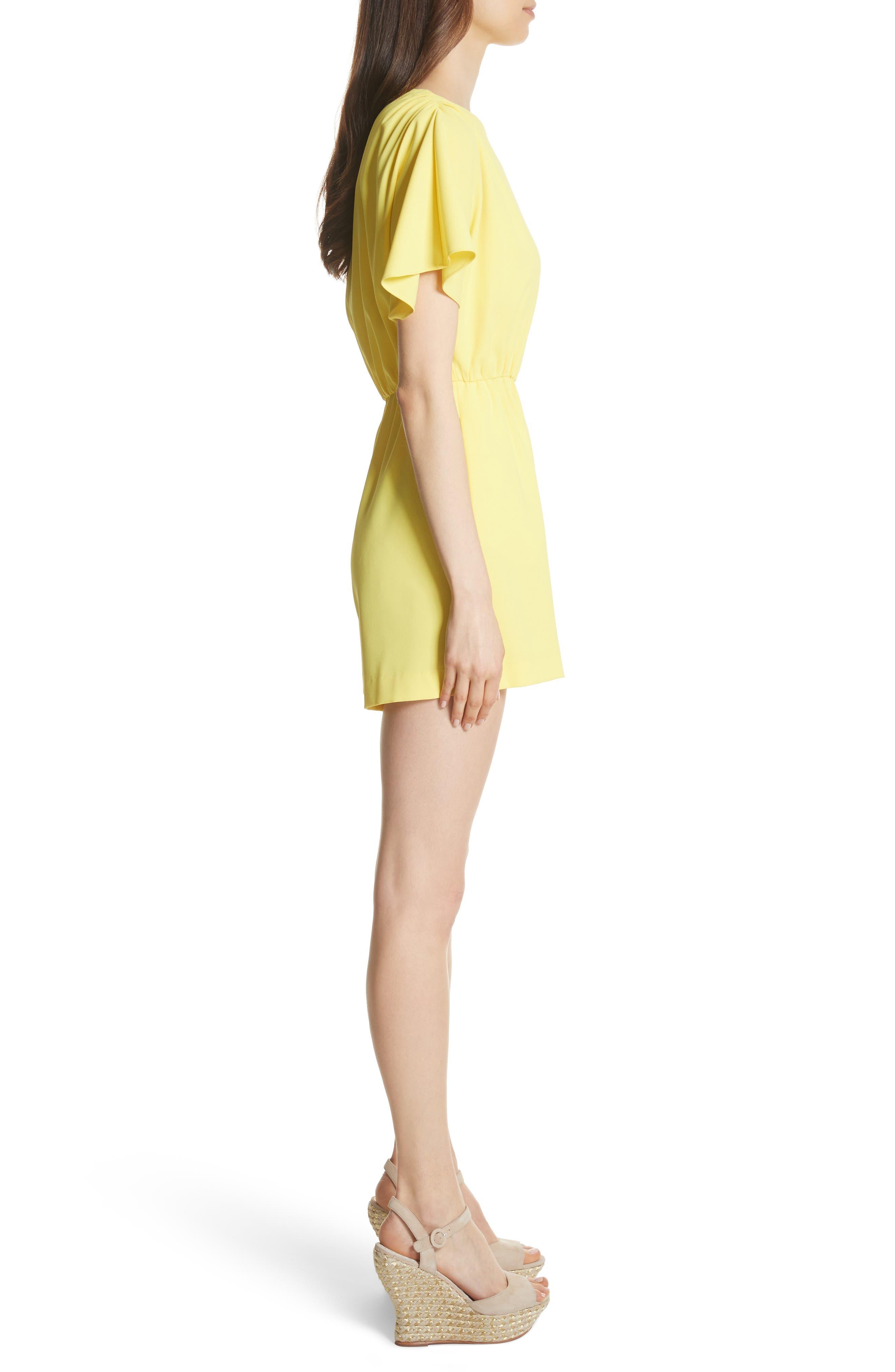 Ashlea Flutter Sleeve Romper,                             Alternate thumbnail 3, color,                             Lemon