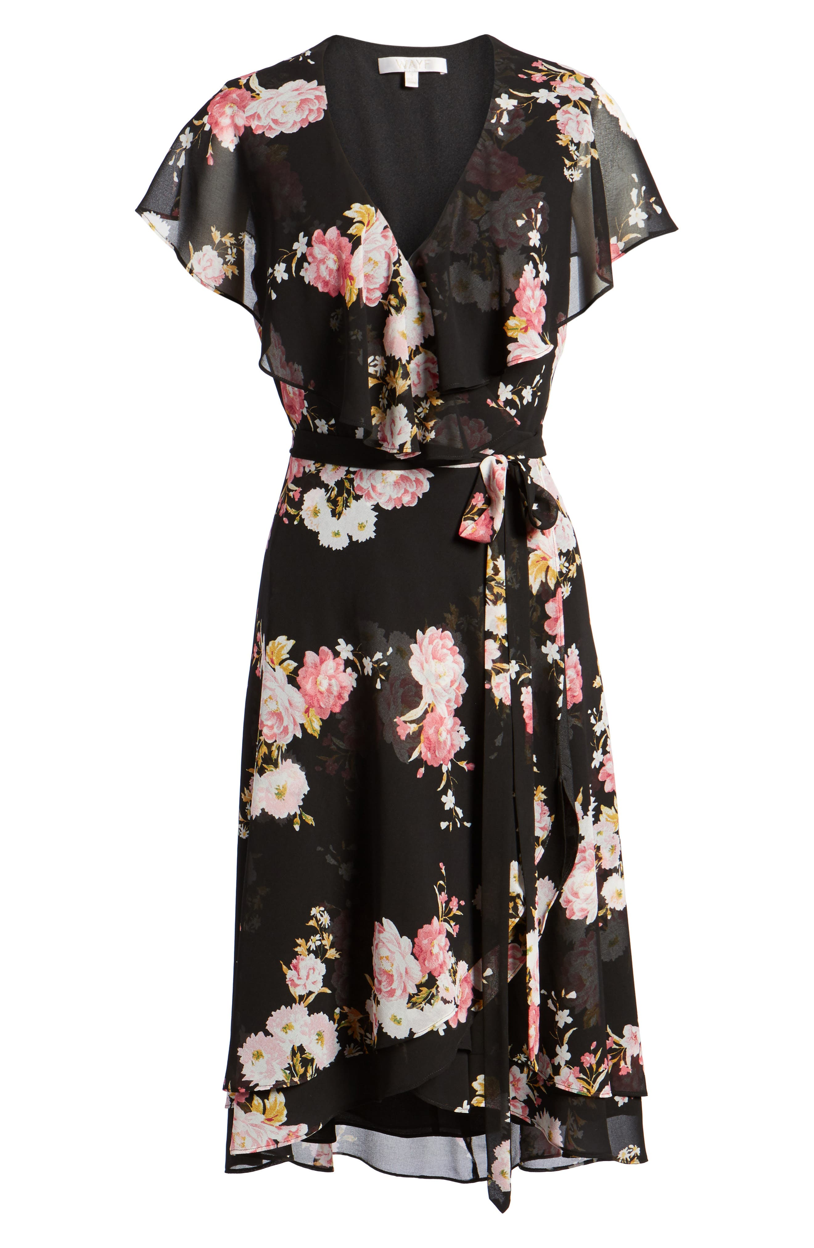 Polermo Wrap Midi Dress,                             Alternate thumbnail 6, color,                             Black Floral