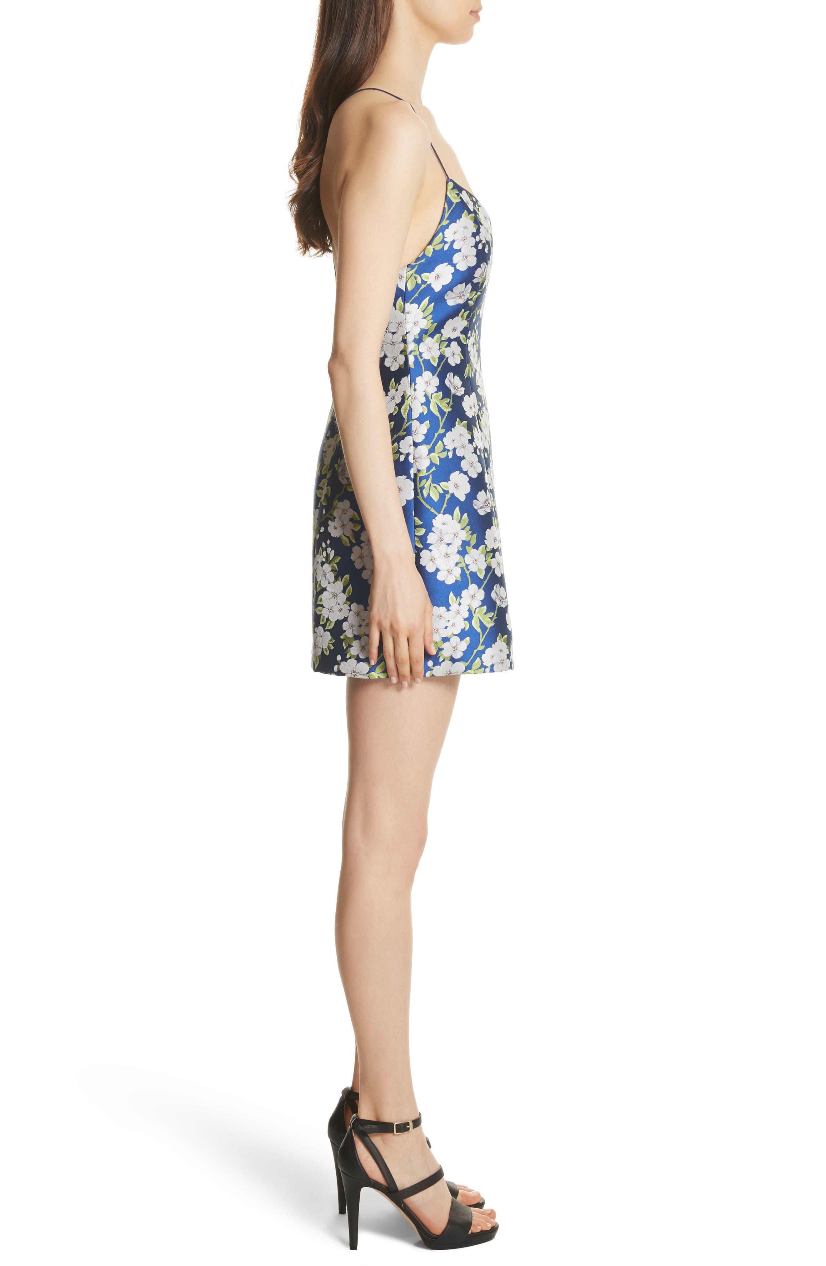 Tayla Structured Lantern Mini Dress,                             Alternate thumbnail 3, color,                             Indigo/ White