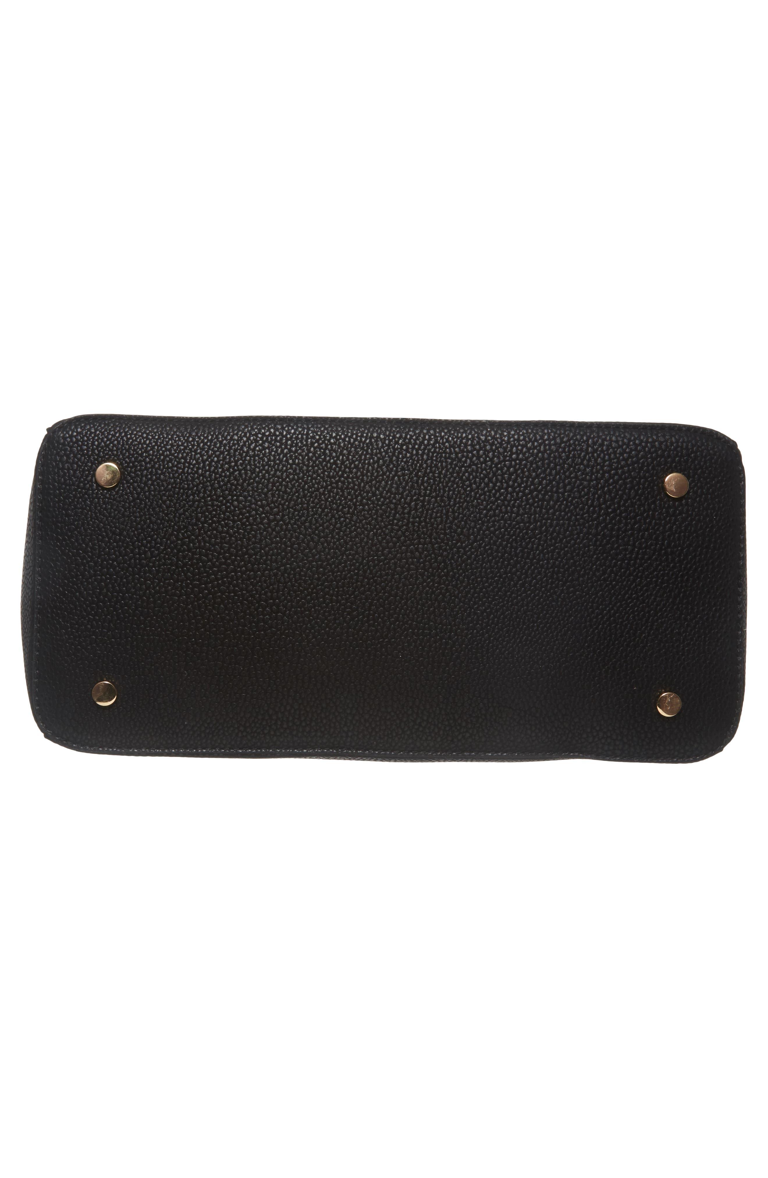 Lexington Faux Leather Satchel,                             Alternate thumbnail 6, color,                             Black